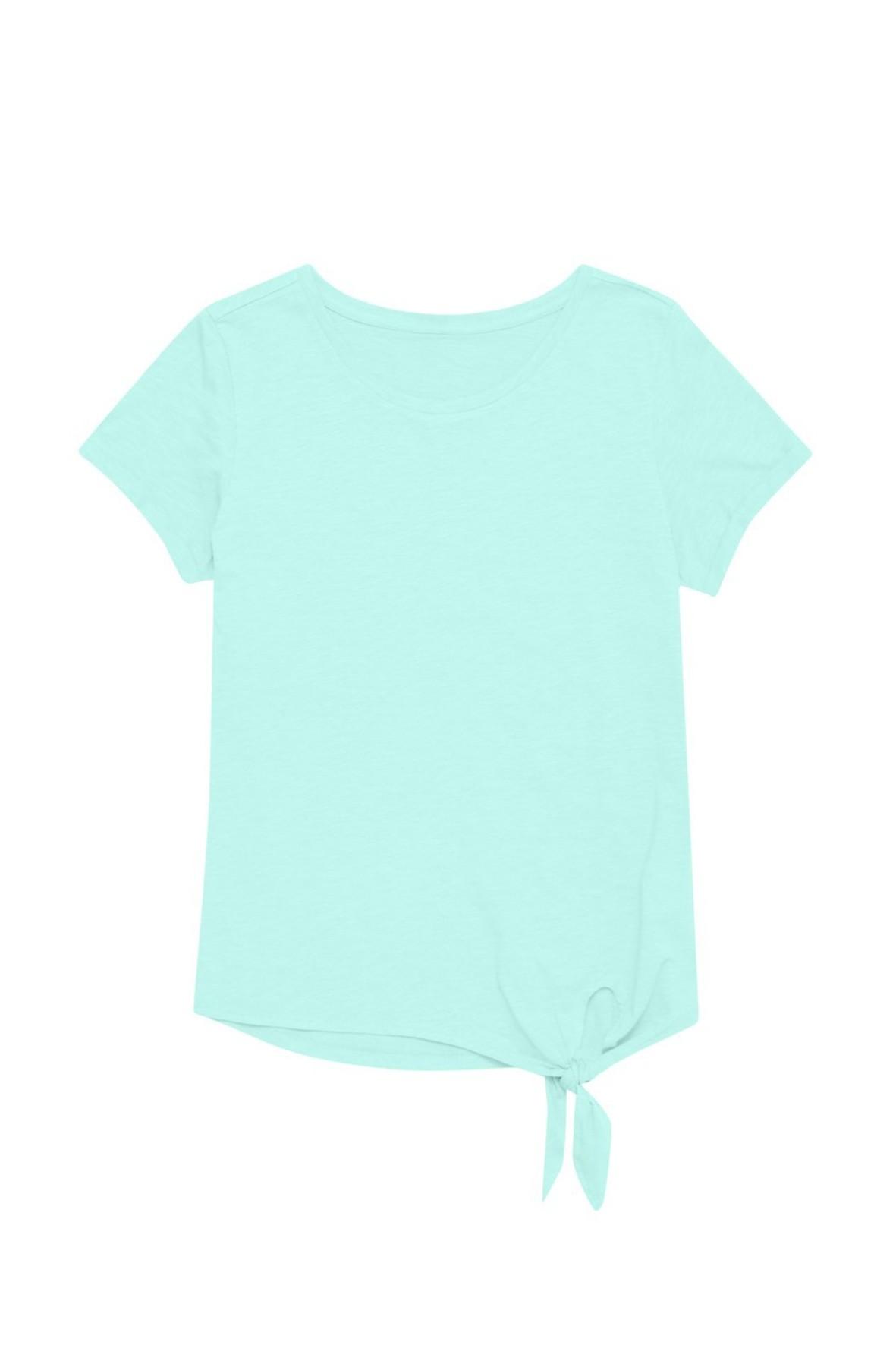 Bawełniany niebieski T-shirt damski na krótki rękaw z ozdobnym wiązaniem