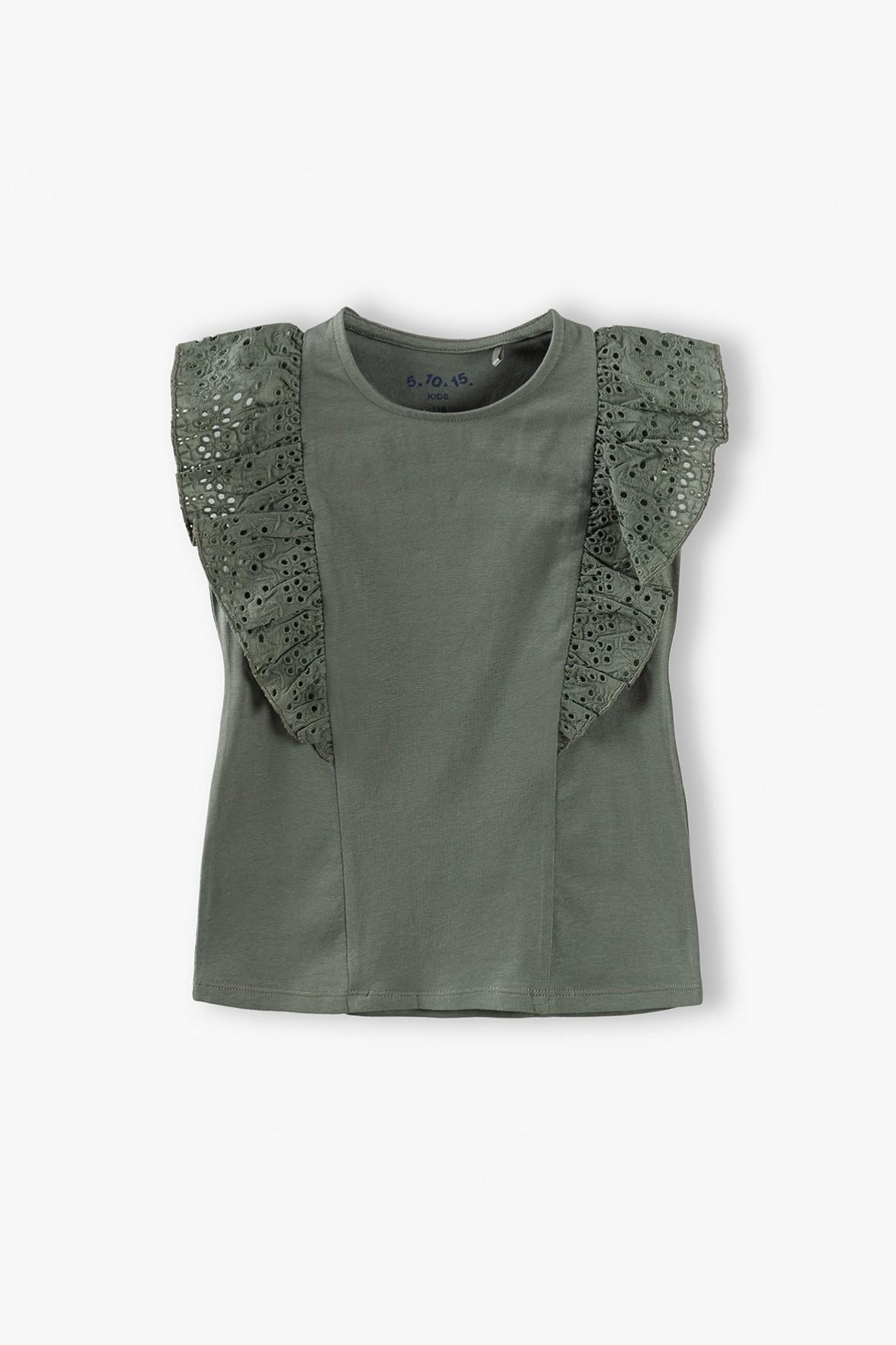 Bluzka dziewczęca z falbankami na rękawach- khaki
