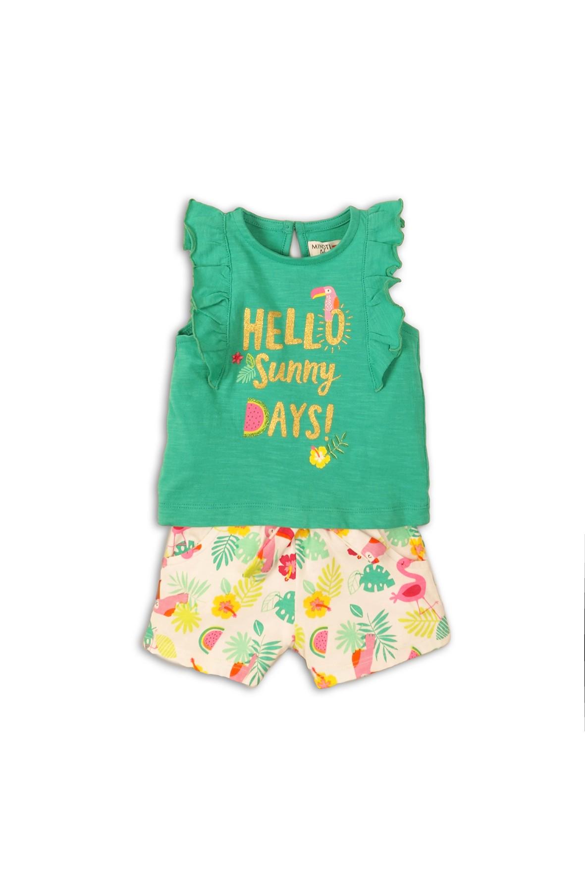 Kolorowy komplet ubrań niemowlęcych - bluzka i spodenki