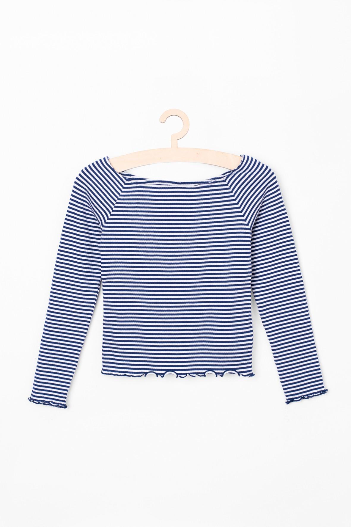 Bluzka dziewczęca w paski- biało niebieskie