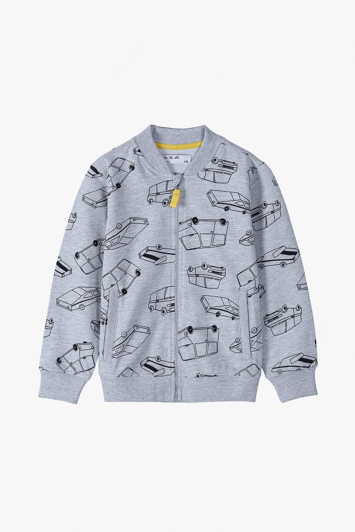 Bluza dresowa chłopięca szara z samochodzikami