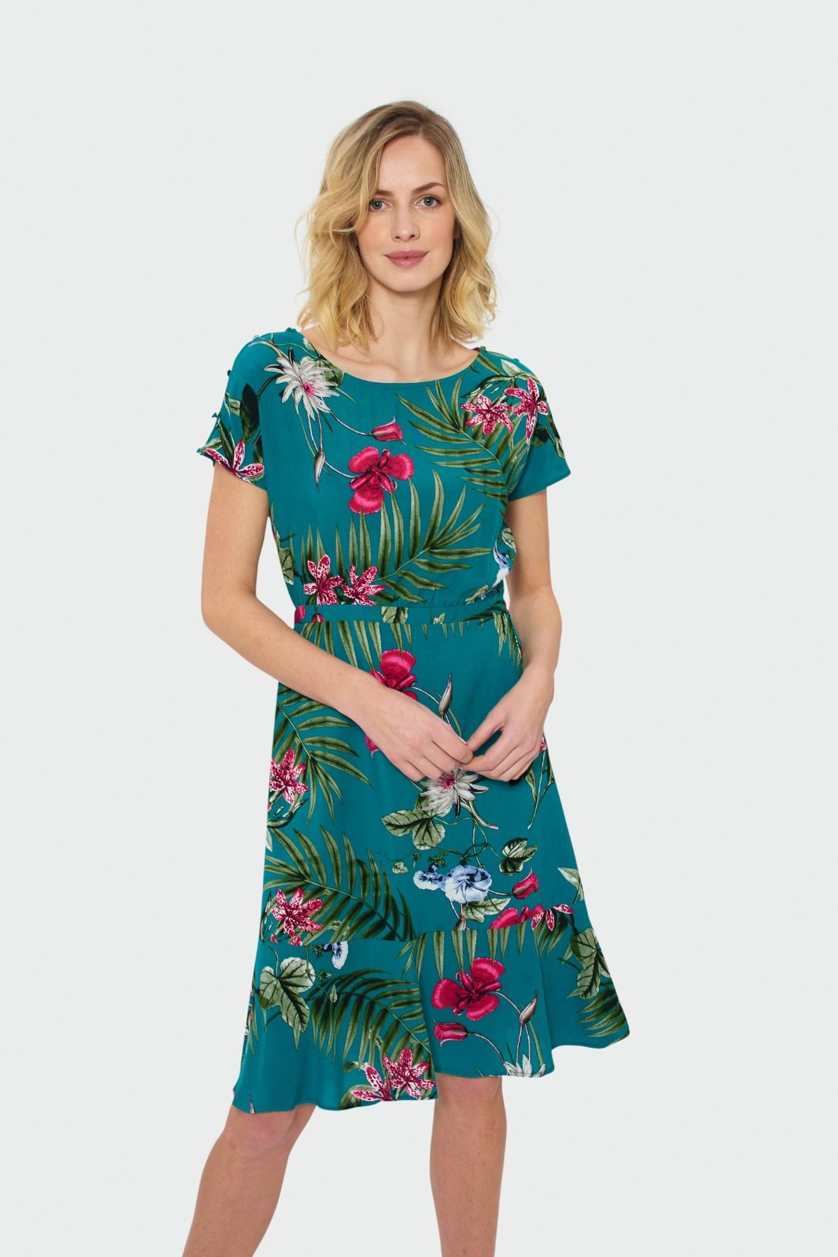 Zielona sukienka w kolorowe kwiaty