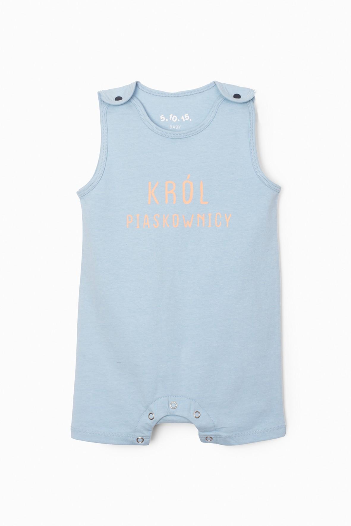Niebieski pajac niemowlęcy z napisem- Król piaskownicy