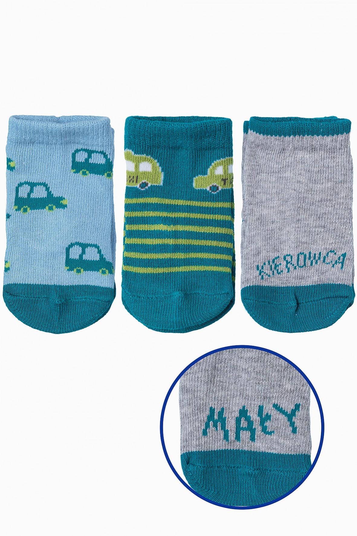 Skarpetki dla niemowlaka- auta- 3pak