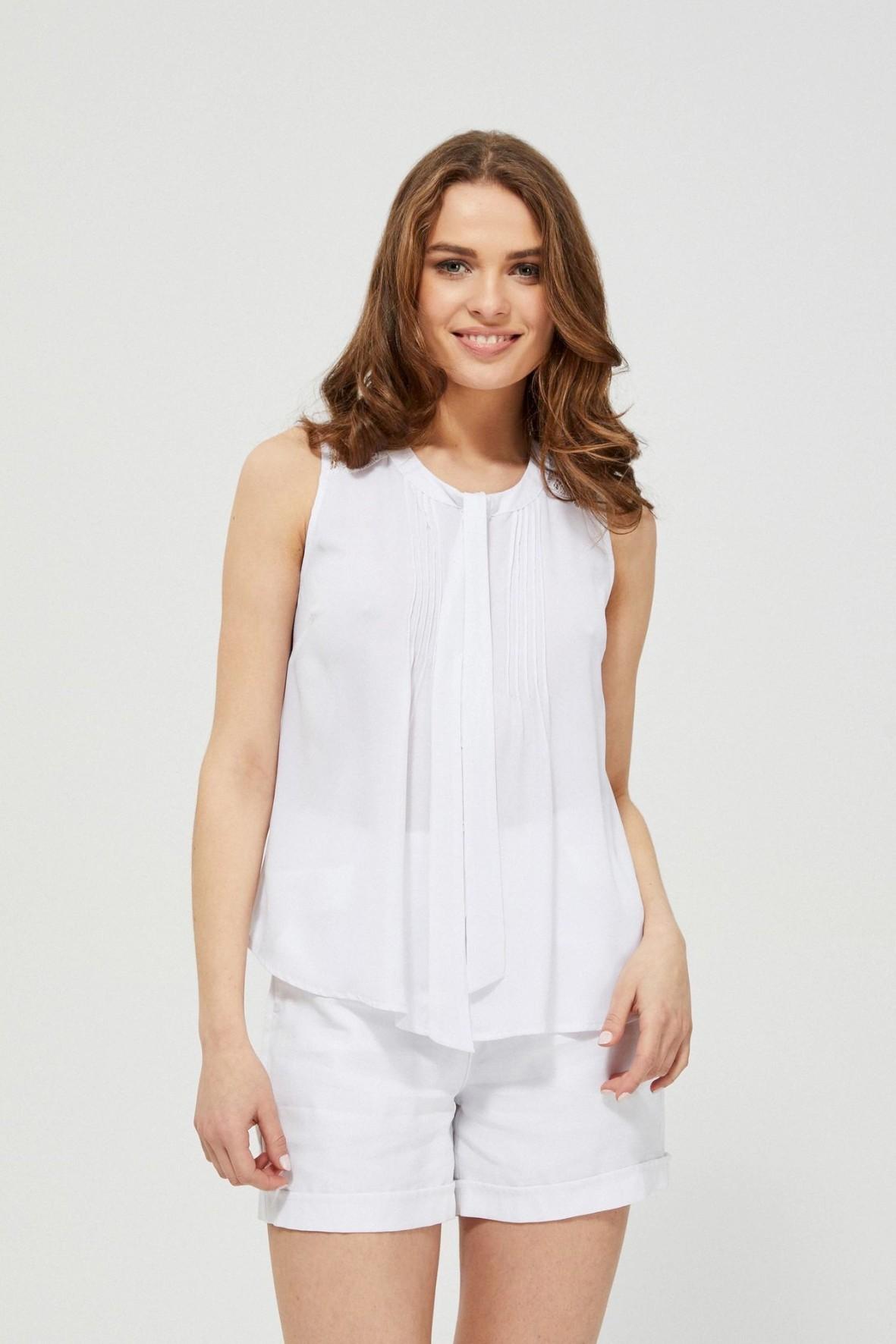 Koszula damska koszulowa bez rękawów z ozdobnym wiązaniem biała