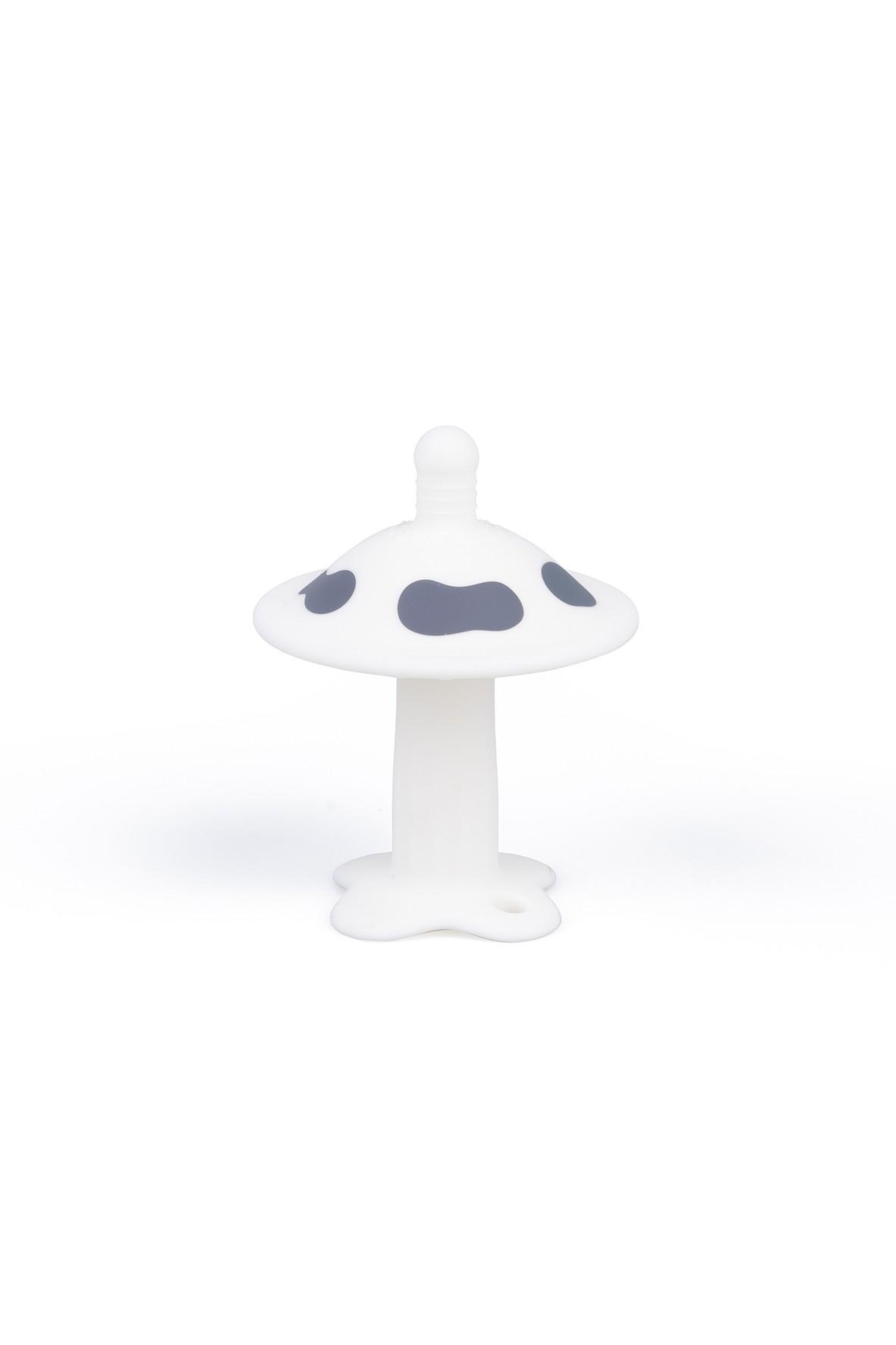 Silikonowy gryzak grzybek - biały wiek 3msc+