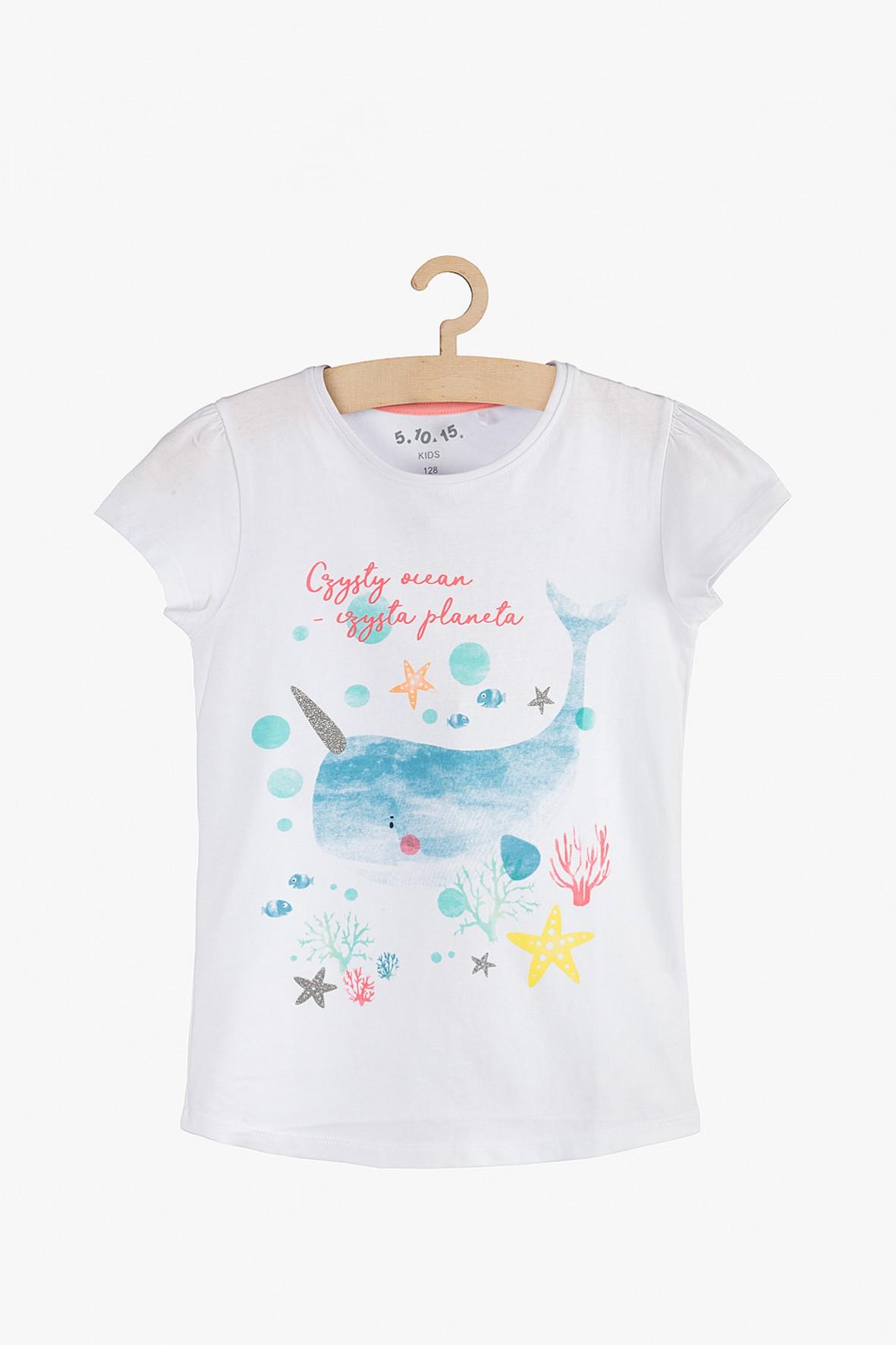 T-shirt dziewczęcy biały Wieloryb