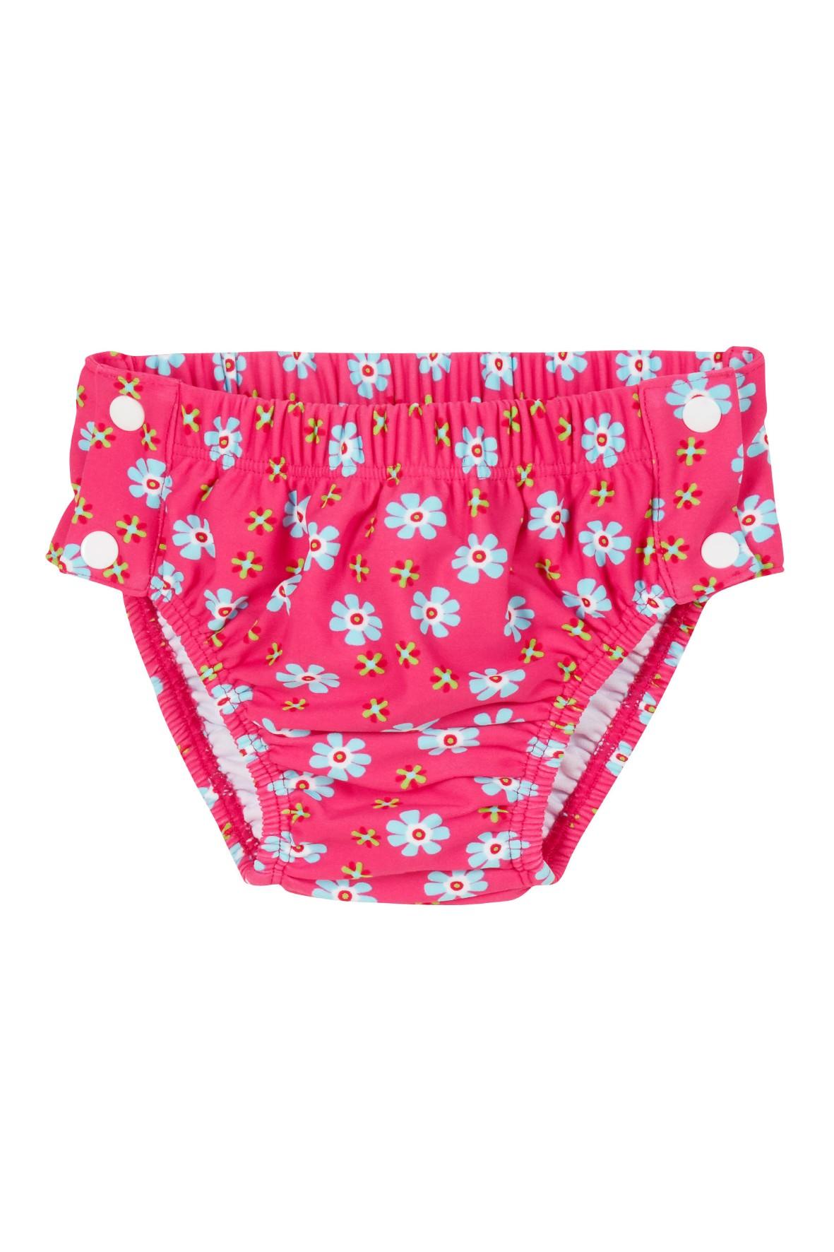 Niemowlęce majtki kąpielowe na guziki z filtrem UV Kwiatuszki