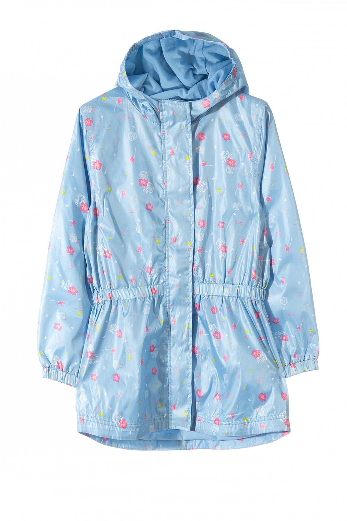 Kurtka parka dla dziewczynki- niebieska w kwiatki