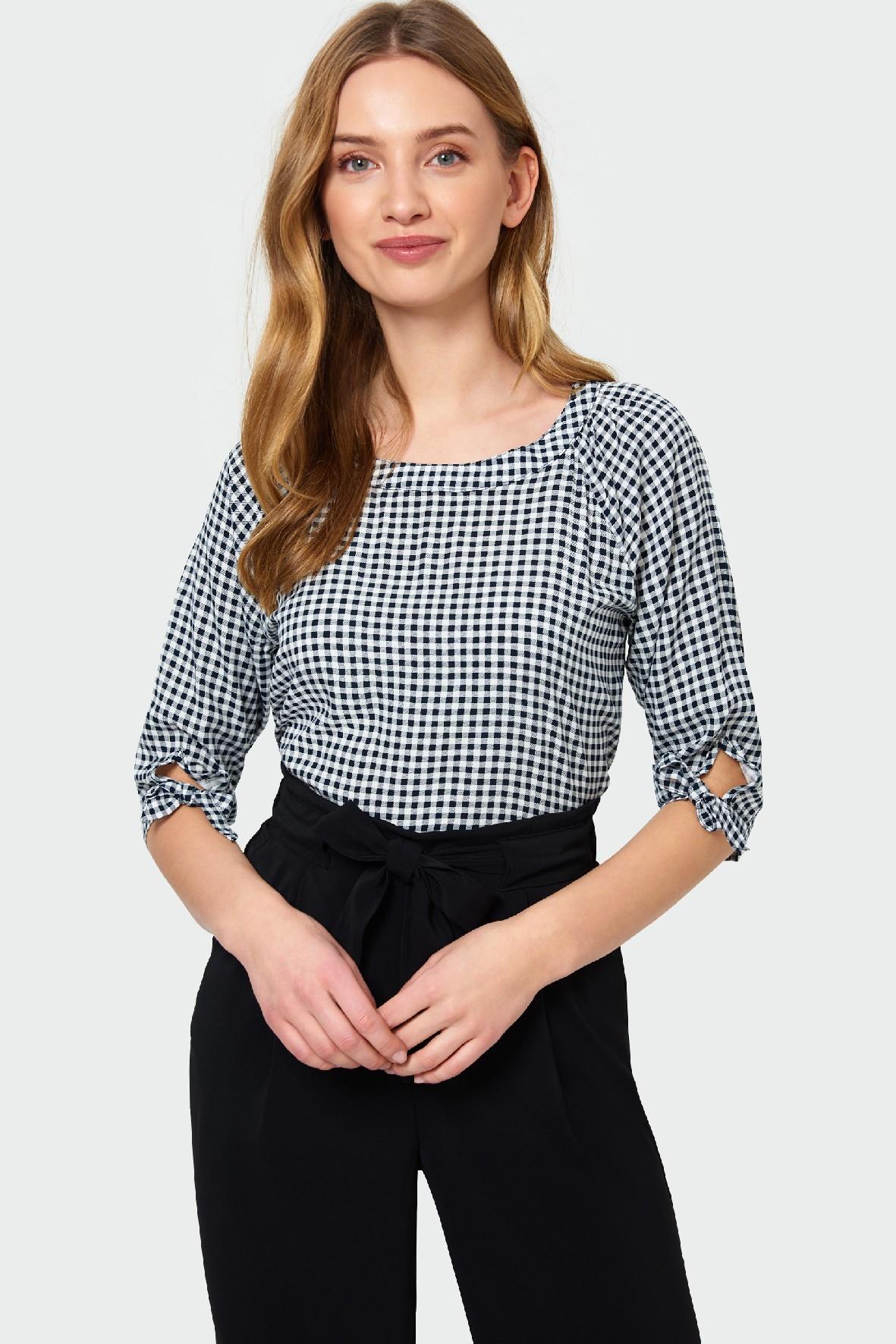 Bluzka damska w kratę z ozdobnym wiązaniem na rękawie