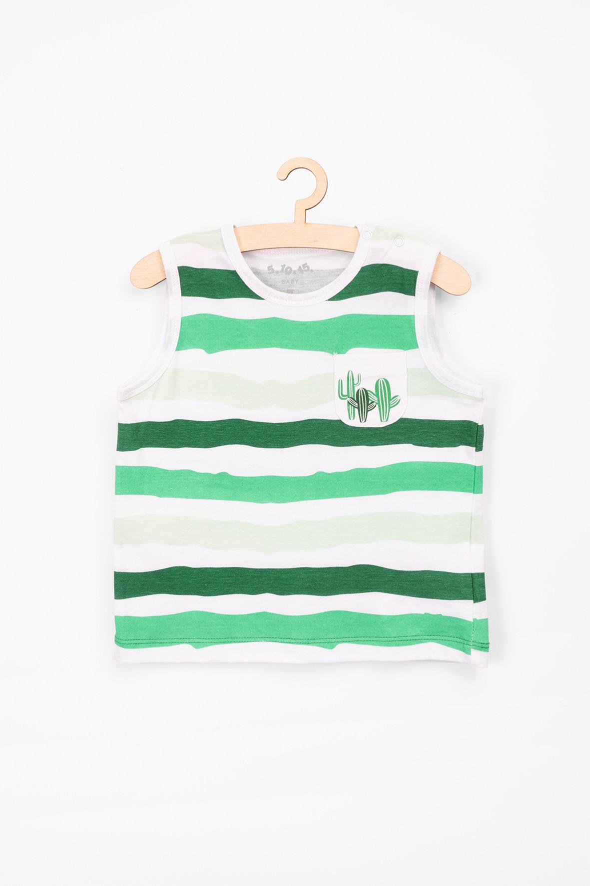 T-shirt dla niemowlaka- zielone paski i kaktusy