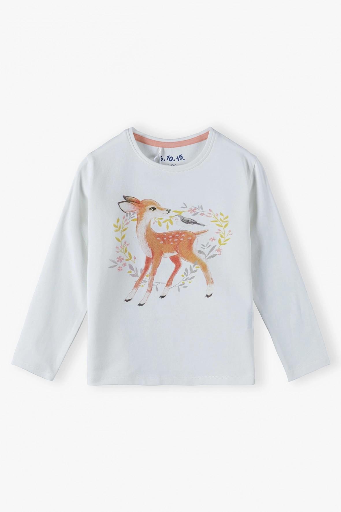 Beżowa bluzka dziewczęca z sarenką