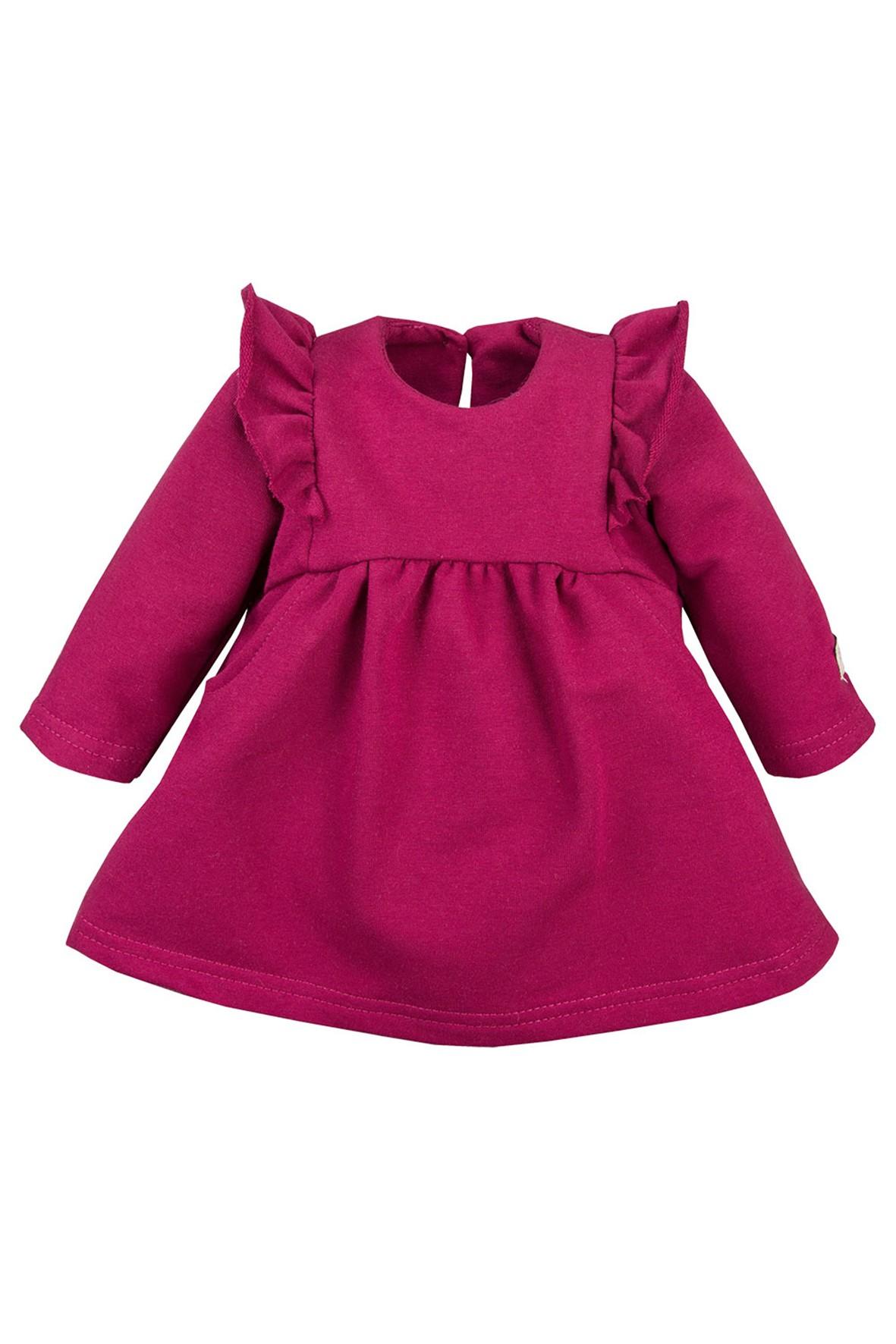 Bawełniana sukienka z falbankami - bordowa