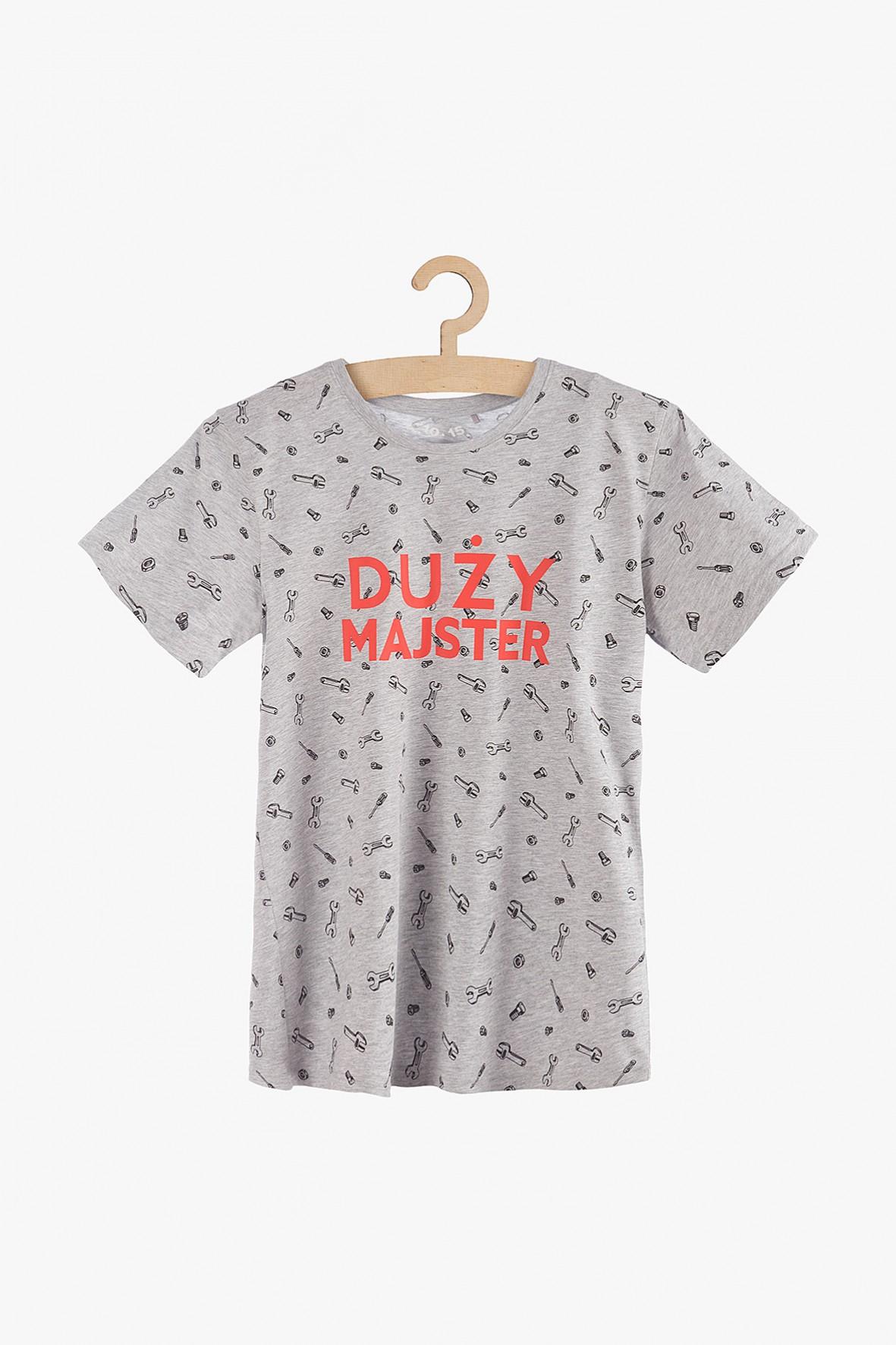 """T-shirt męski szary z pomarańczowym napisem """"Duży majster"""""""