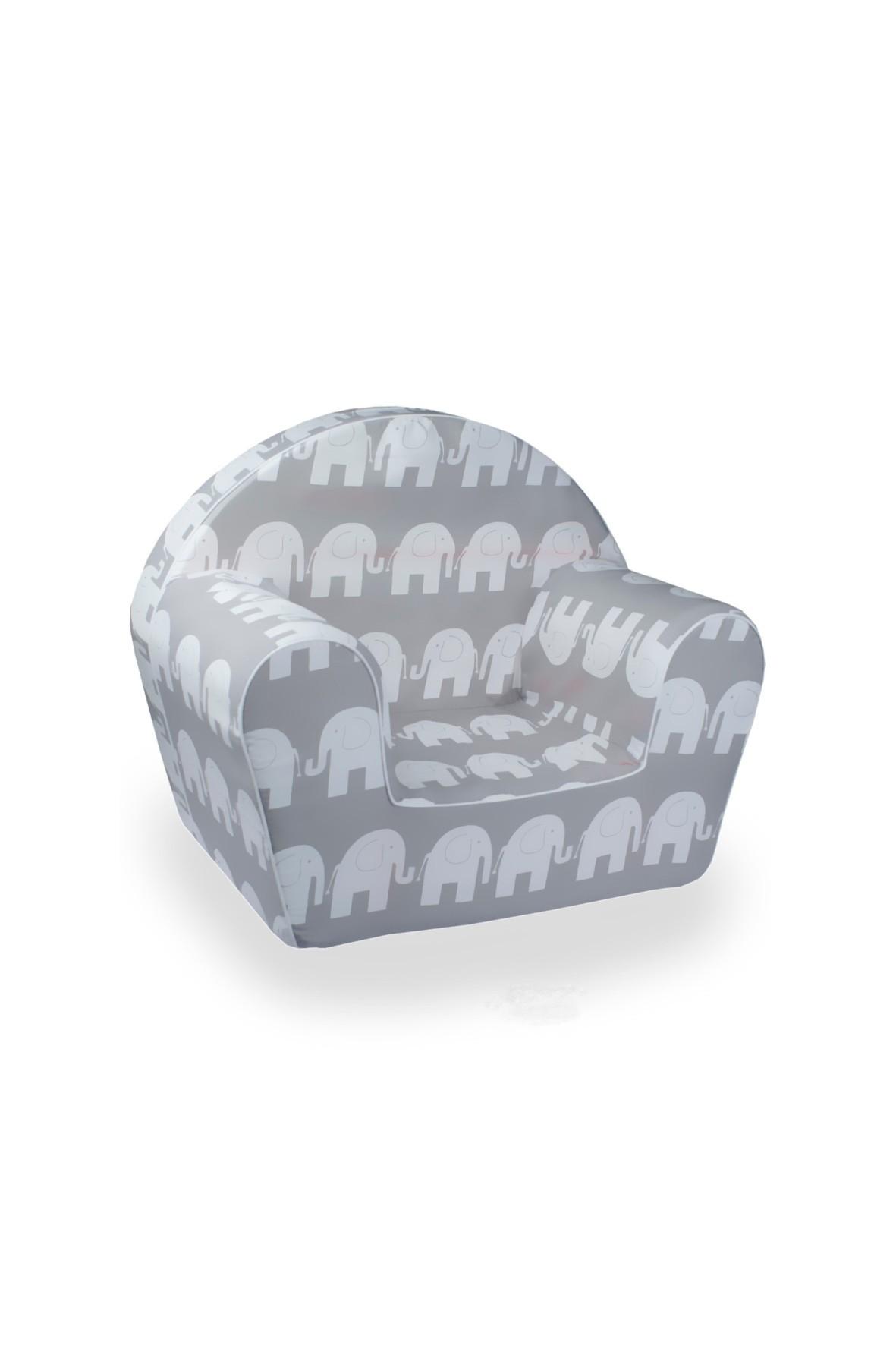Szary fotelik w białe słonie