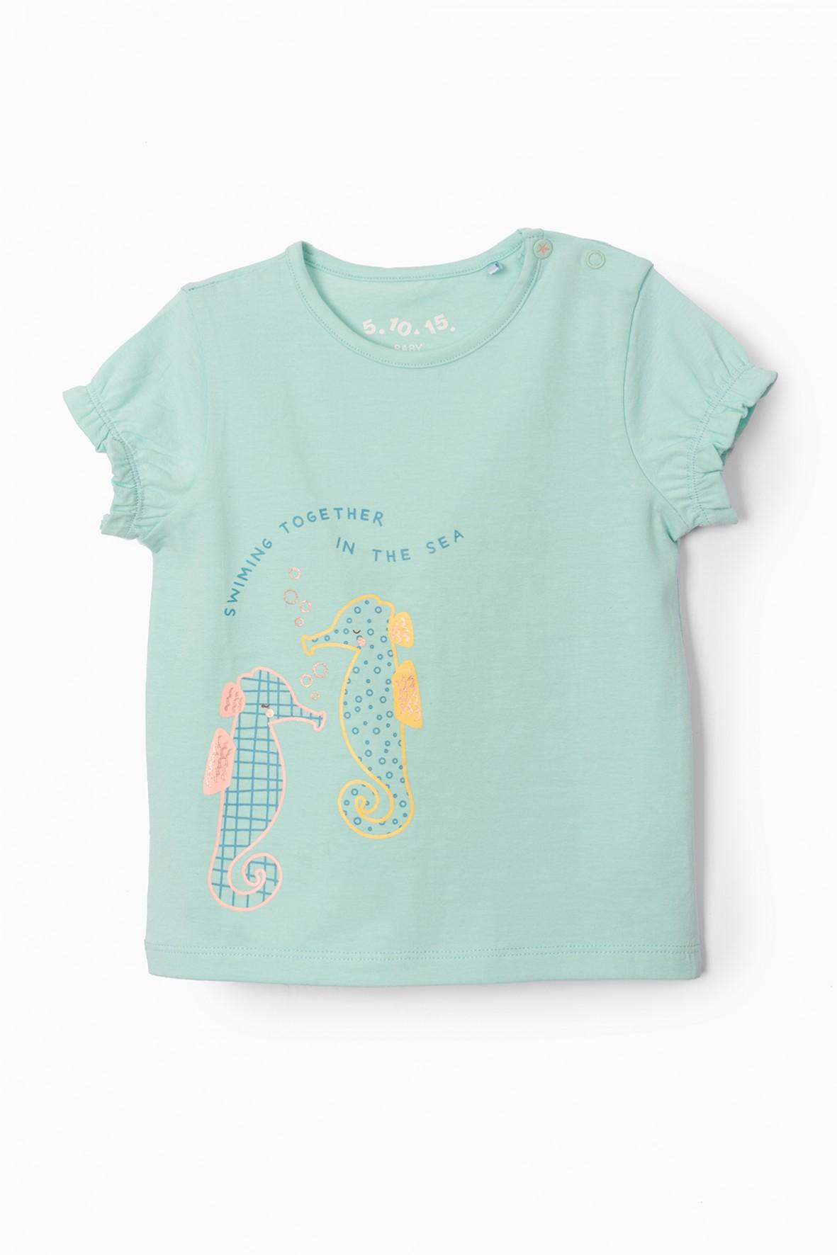 T-shirt niemowlecy bawełniany z konikami morskimi