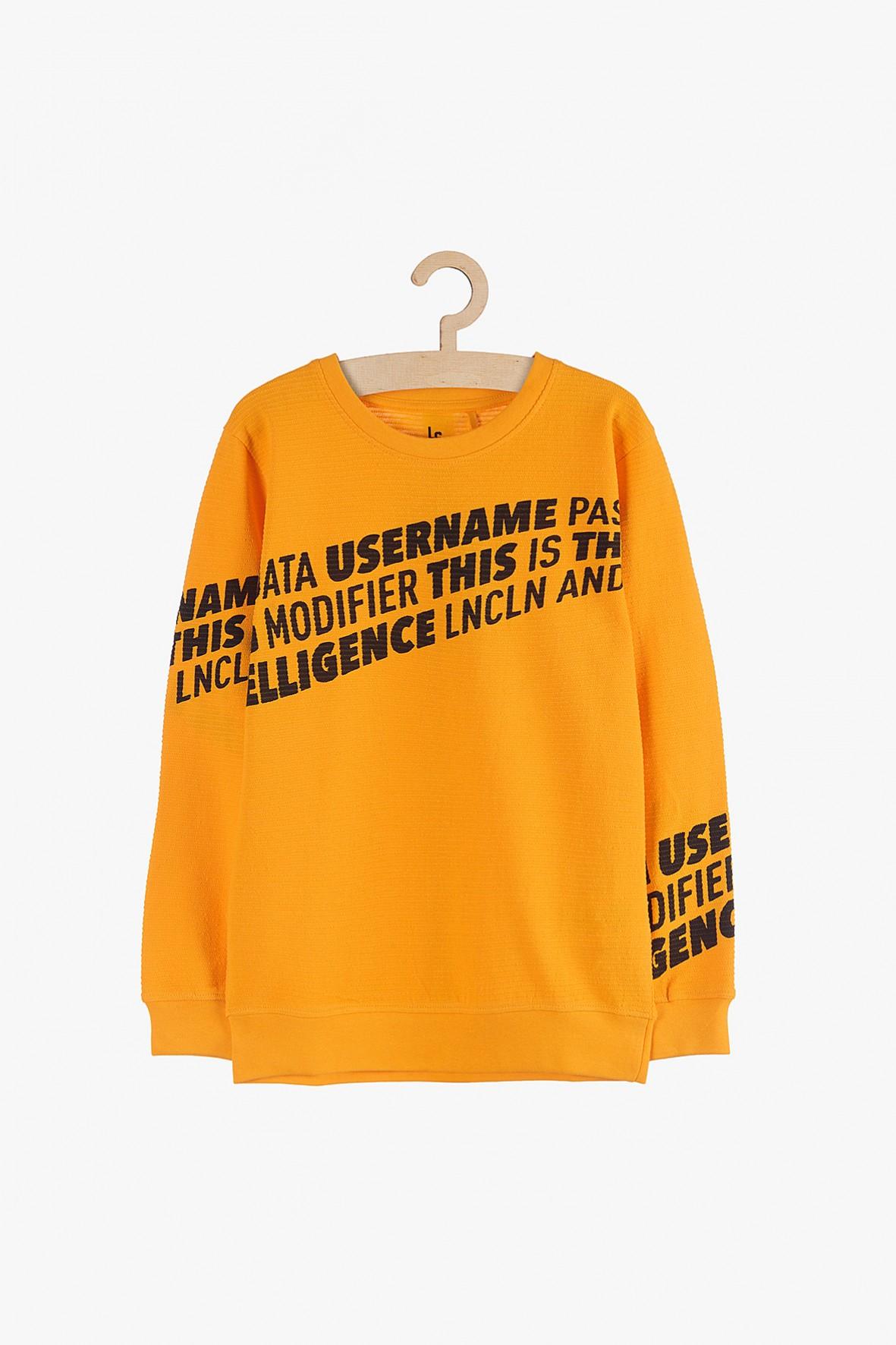 Bluzka chłopięca pomarańczowa z czarnymi napisami