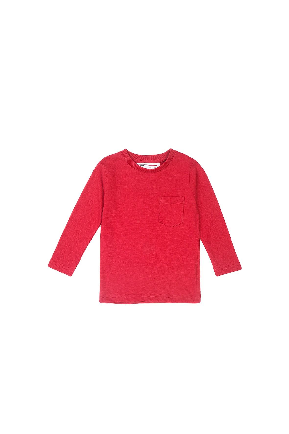 Bluzka chłopięca bawełniana z kieszonką - czerwona