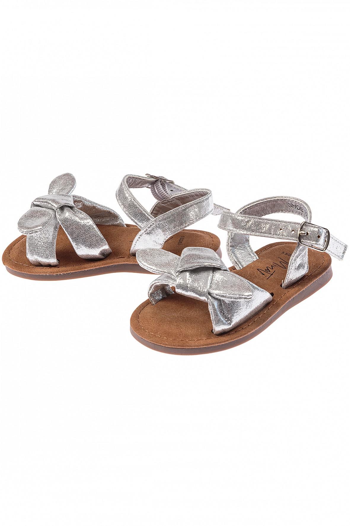 Sandały dziewczęce srebrne z kokardkami