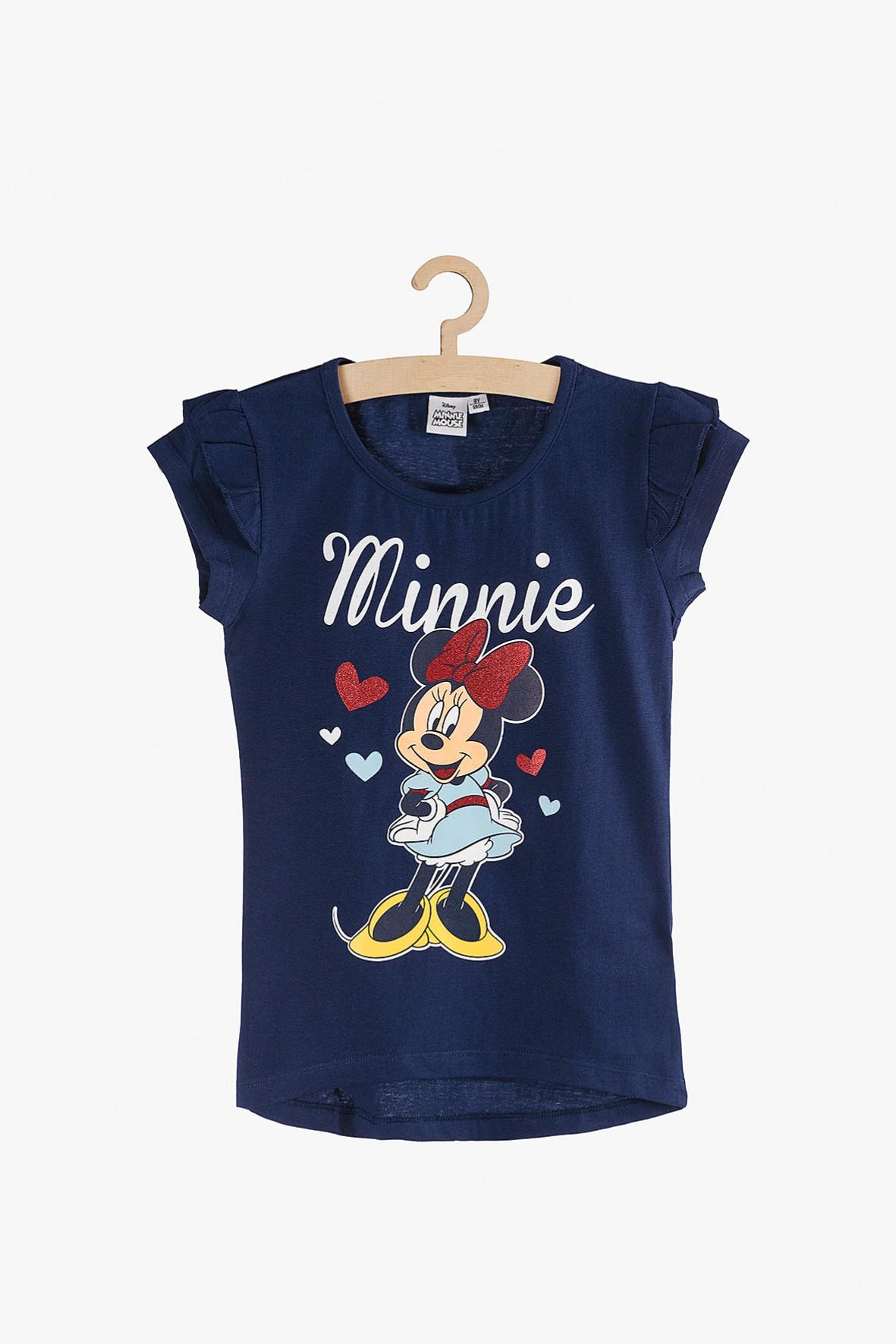 T-shirt dla dziewczynki granatowy z Myszką Minnie