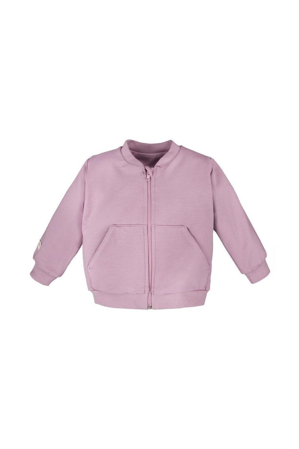 Bawełniana bluza bomberka - wrzosowa
