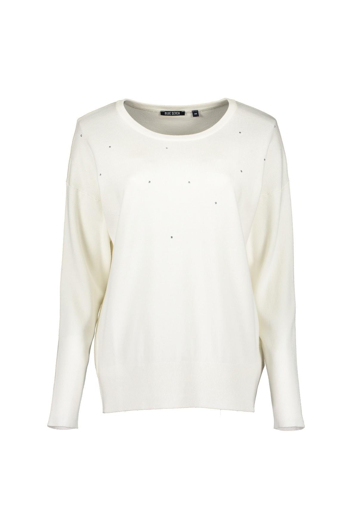 Damski sweter oversize z dzianiny - biały