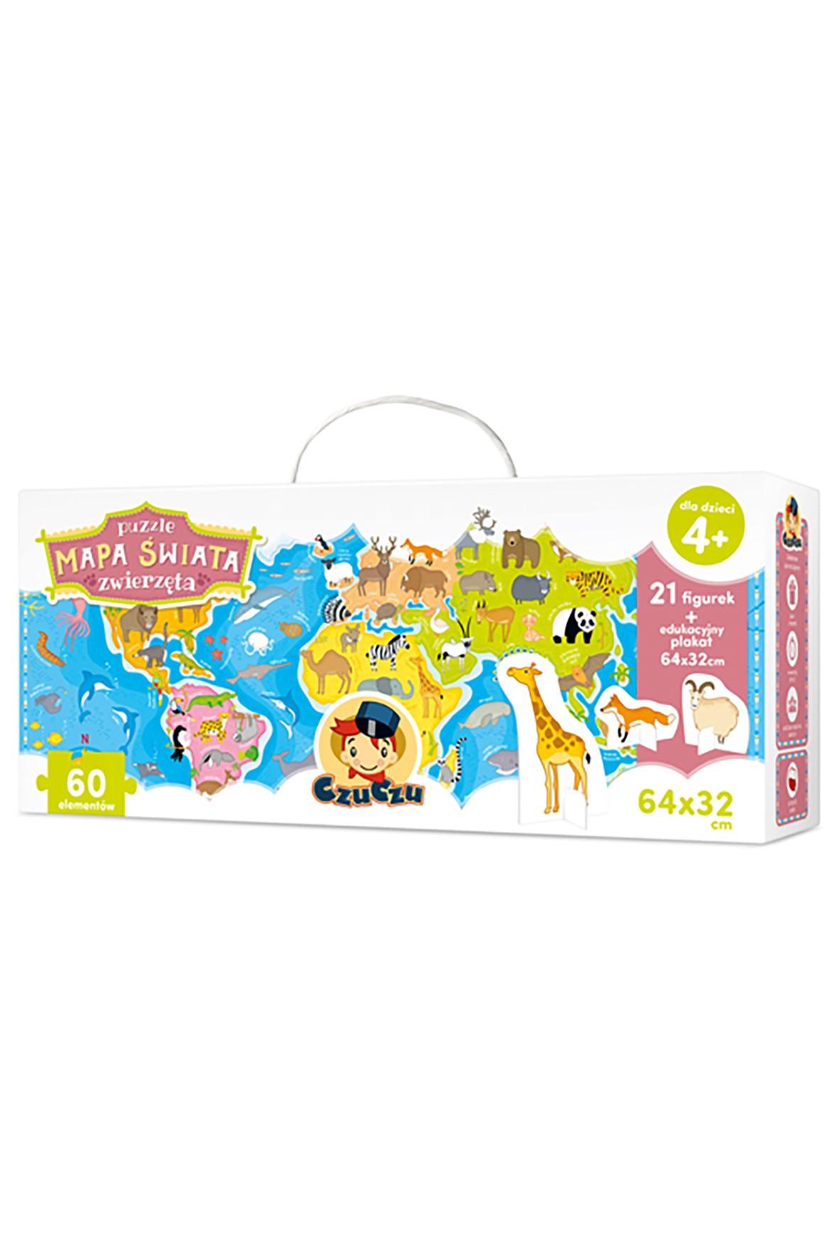 Puzzle CzuCzu Mapa świata - Zwierzęta  60el 4+