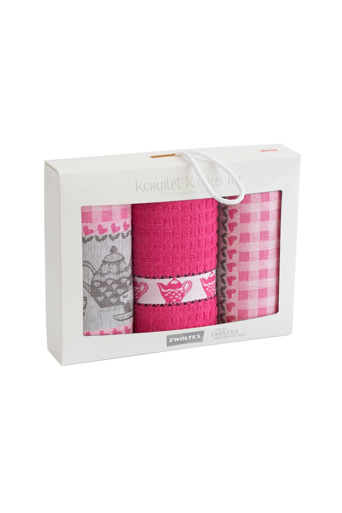 Komplet ściereczek kuchennych + ręcznik PODWIECZOREK różowe 3-pak