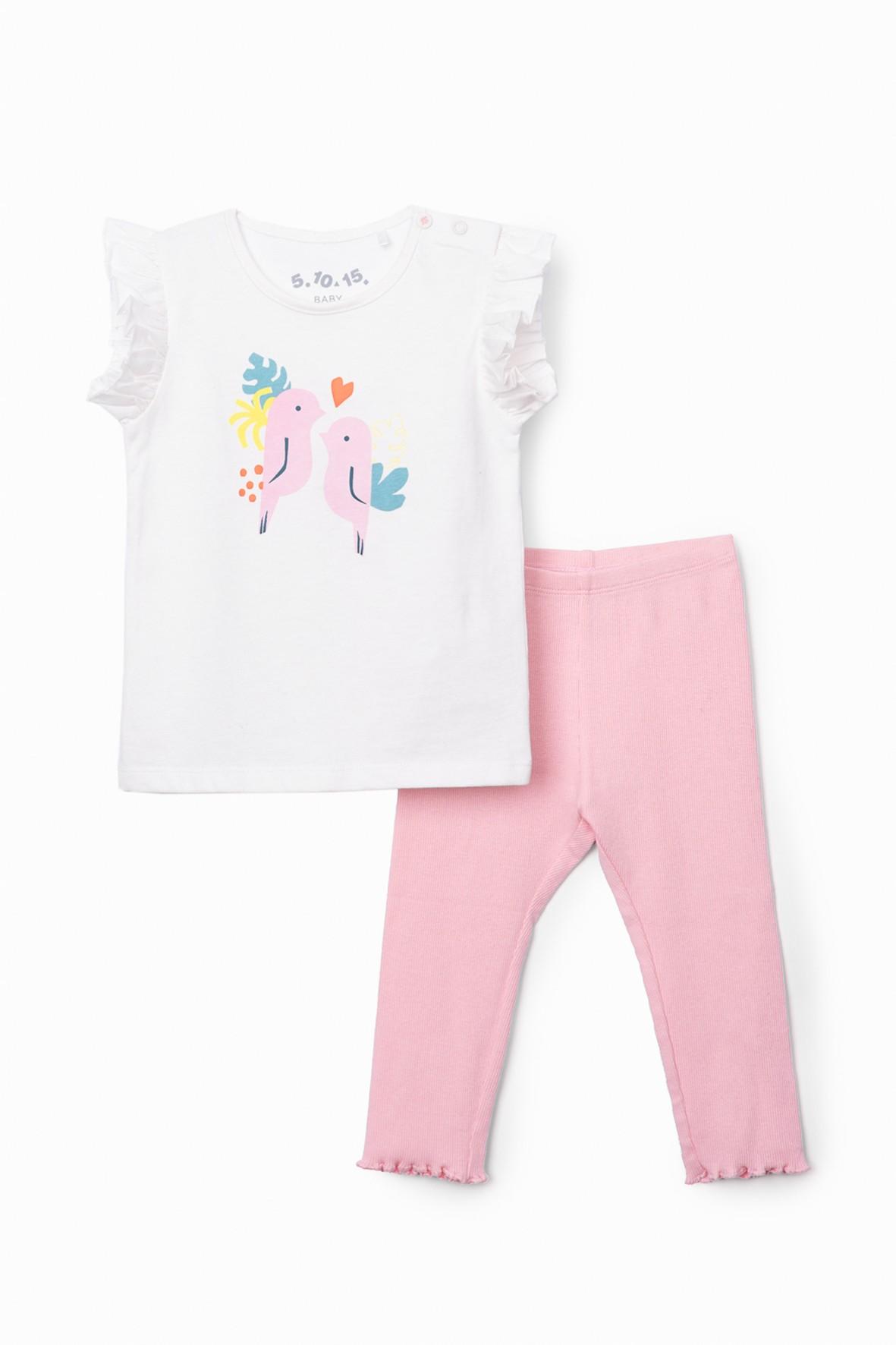 Komplet dziewczęcy -  różowa tunika  z wzorkami  - legginsy ze wstążeczką różowa
