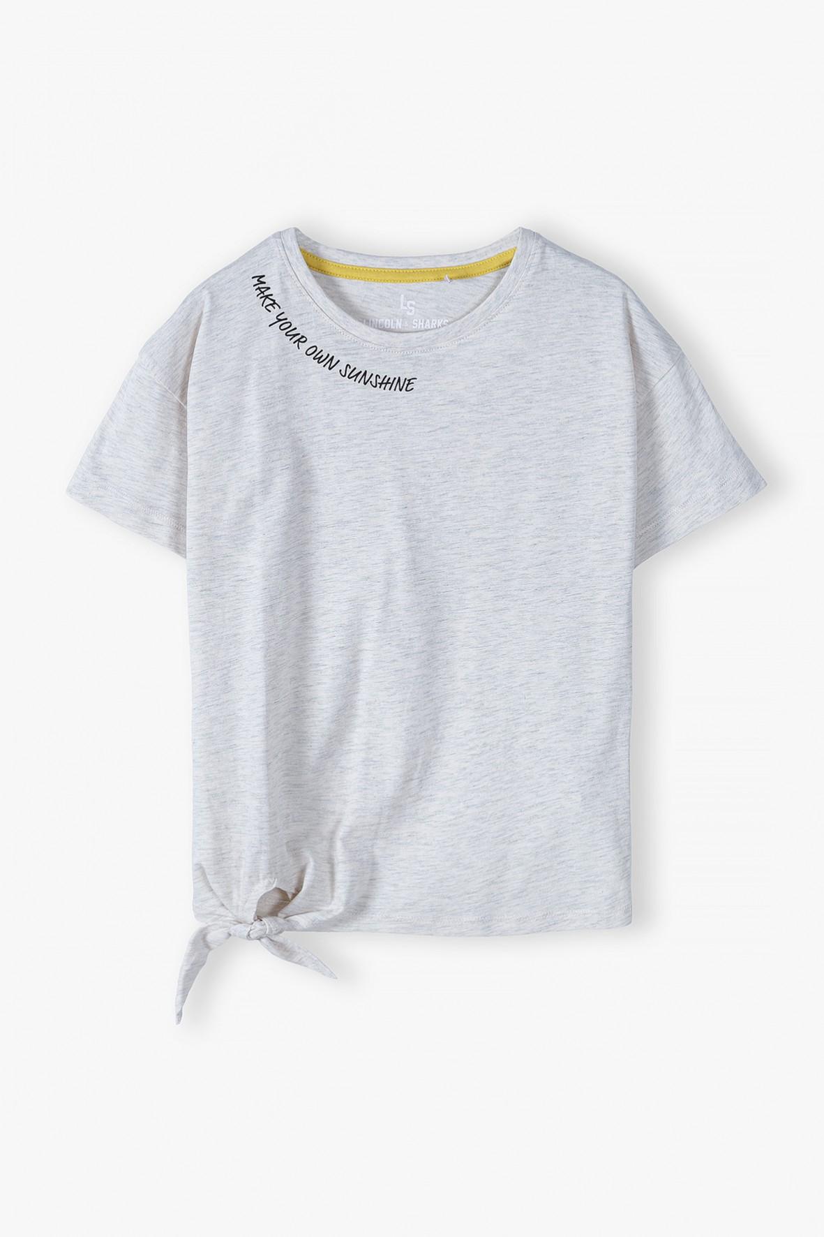 T-shirt dziewczęcy z wiązaniem z boku - szary