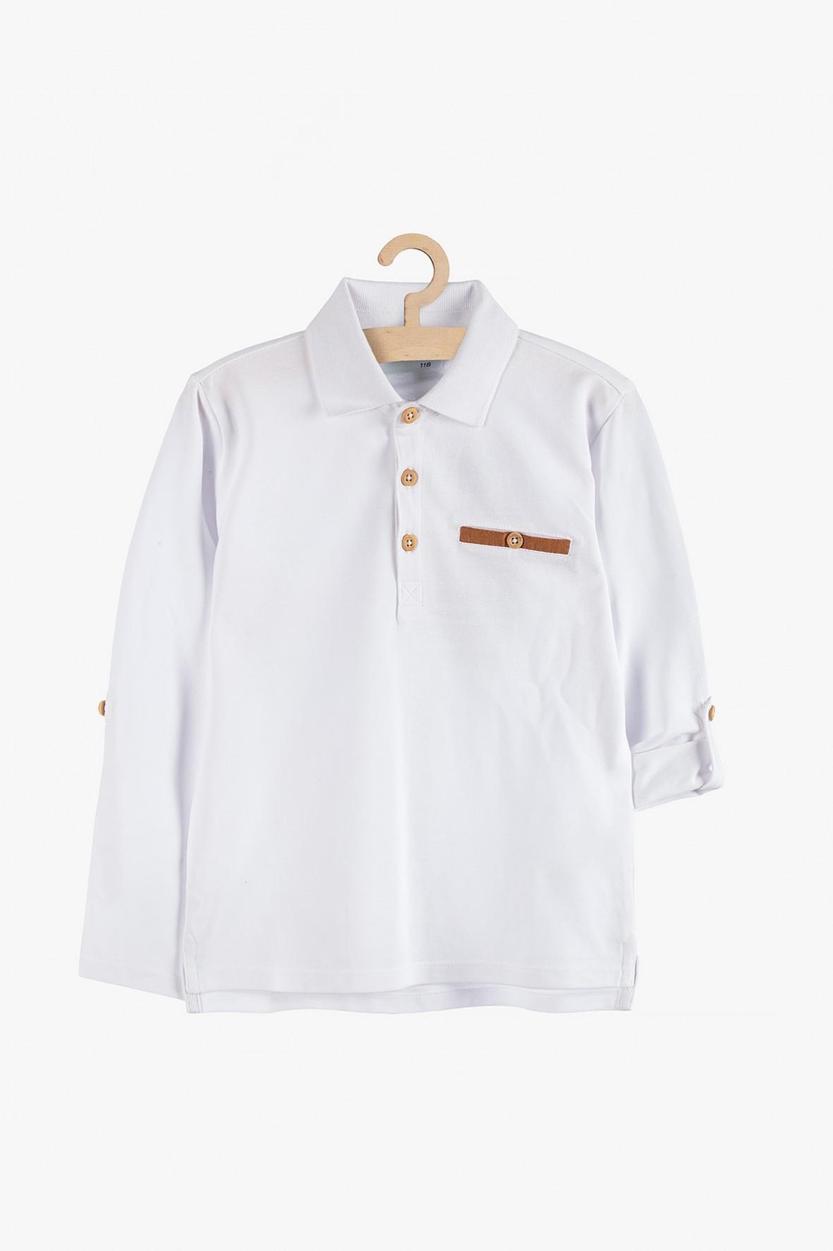 Biała bluzka z kołnierzykiem i długim rękawem
