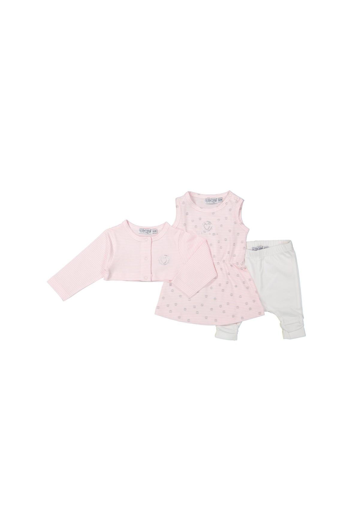 Komplet niemowlęcy bolerko, tunika i spodnie