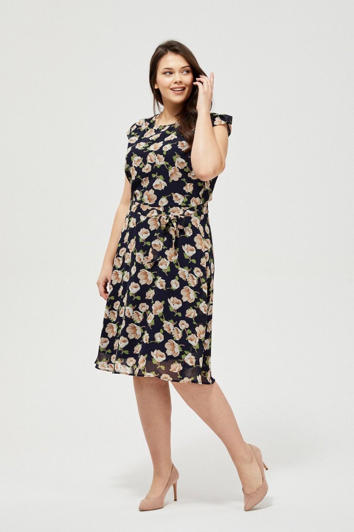 Sukienka damska granatowa w kwiaty