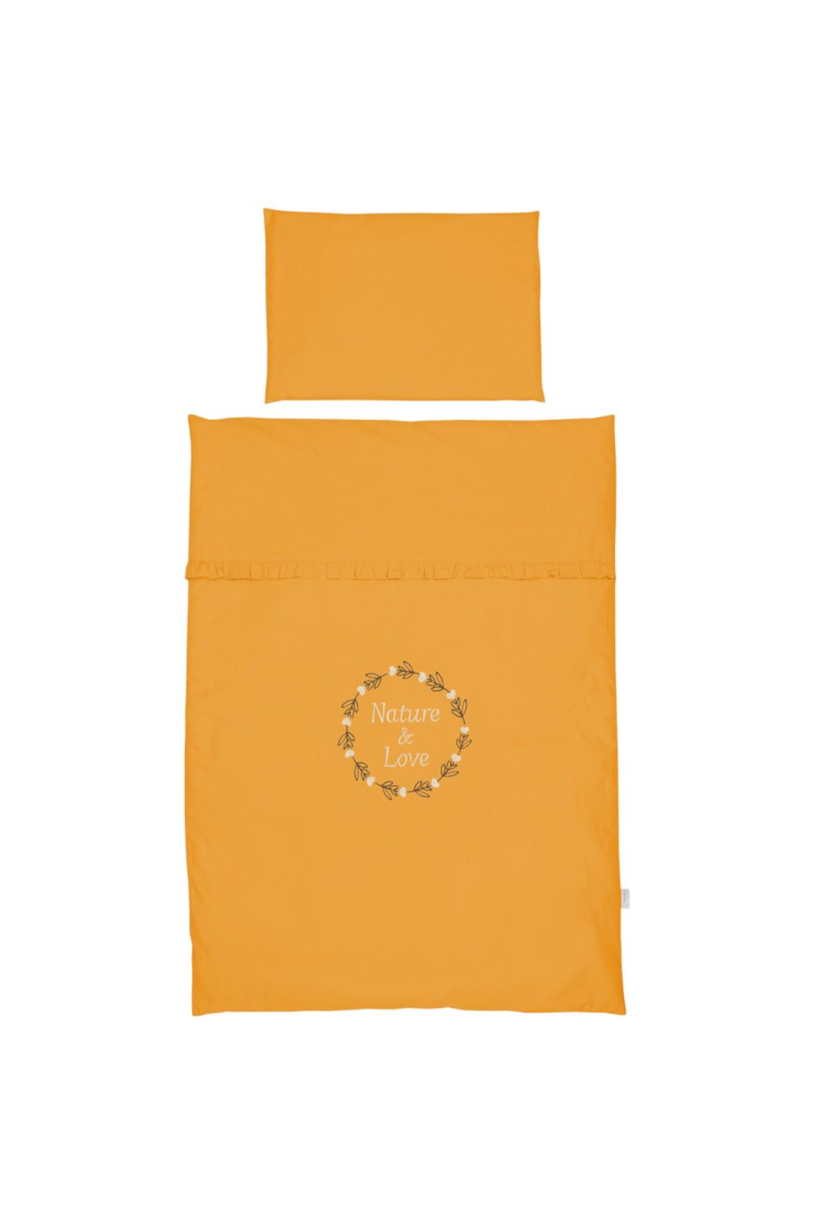 Bawełniana pościel do łóżeczka dziecięcego w kolorze musztardowym -  120x80 cm