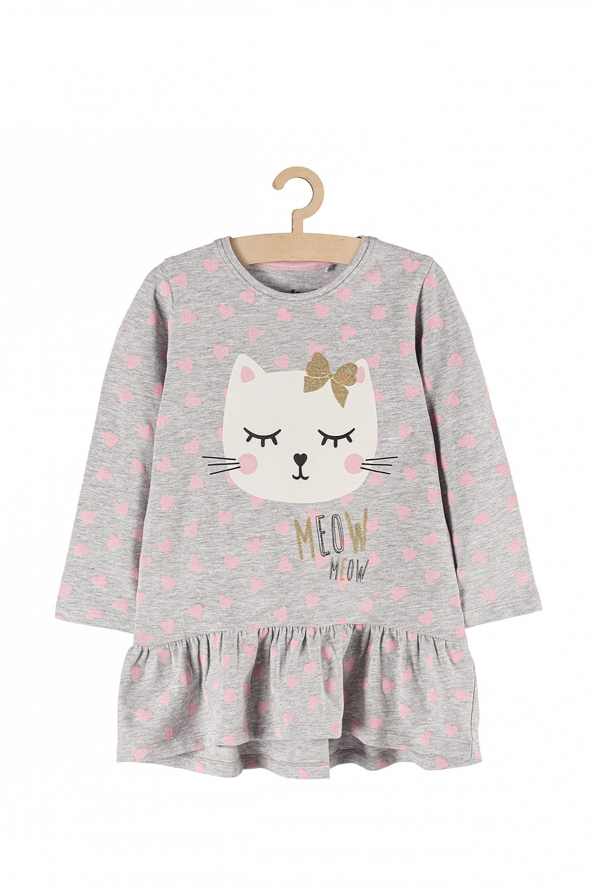 Bluzka dziewczęca szara z kotem i ozodbną falbanką