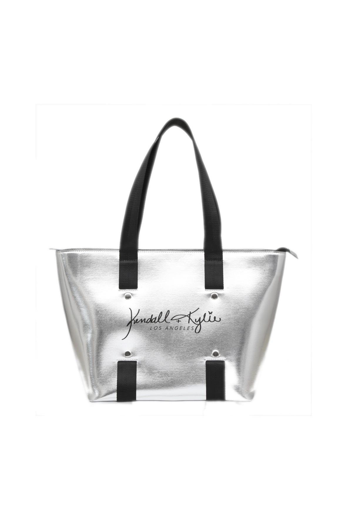 Srebrna, pojemna torba typu shopper z krótkimi czarnymi uszami