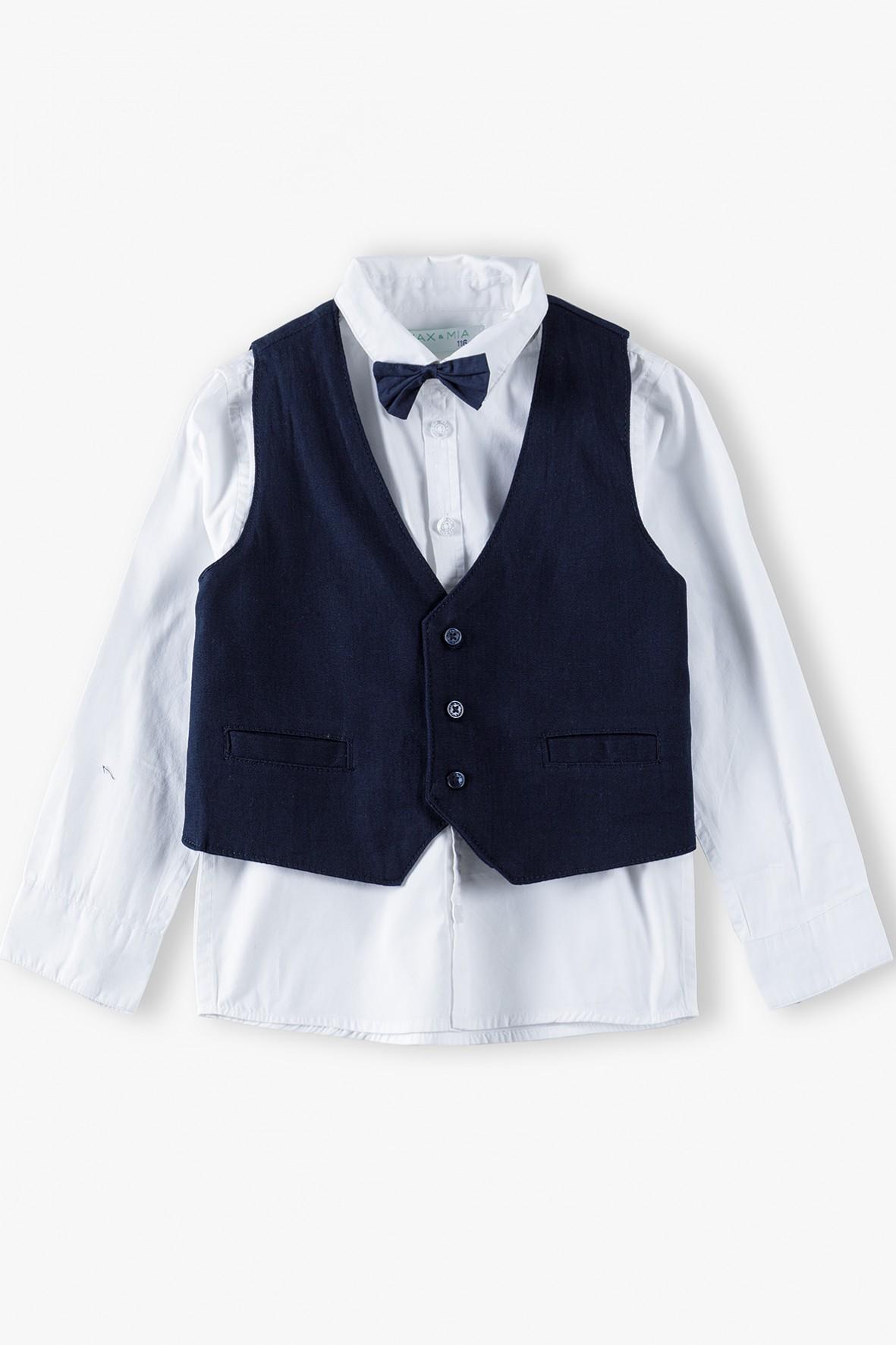 Komplet chłopięcy- biała koszula z kamizelką i muszką
