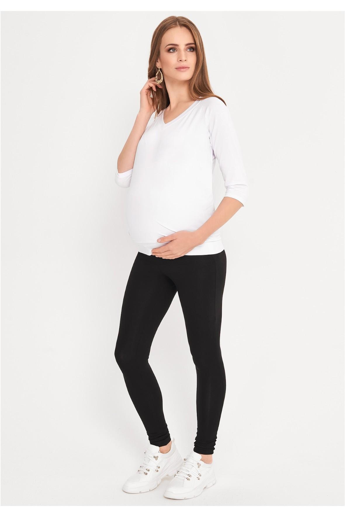 Bluzka ciążowa i dla karmiącej - biała z rękawem 3/4 i z dekoltem w serek
