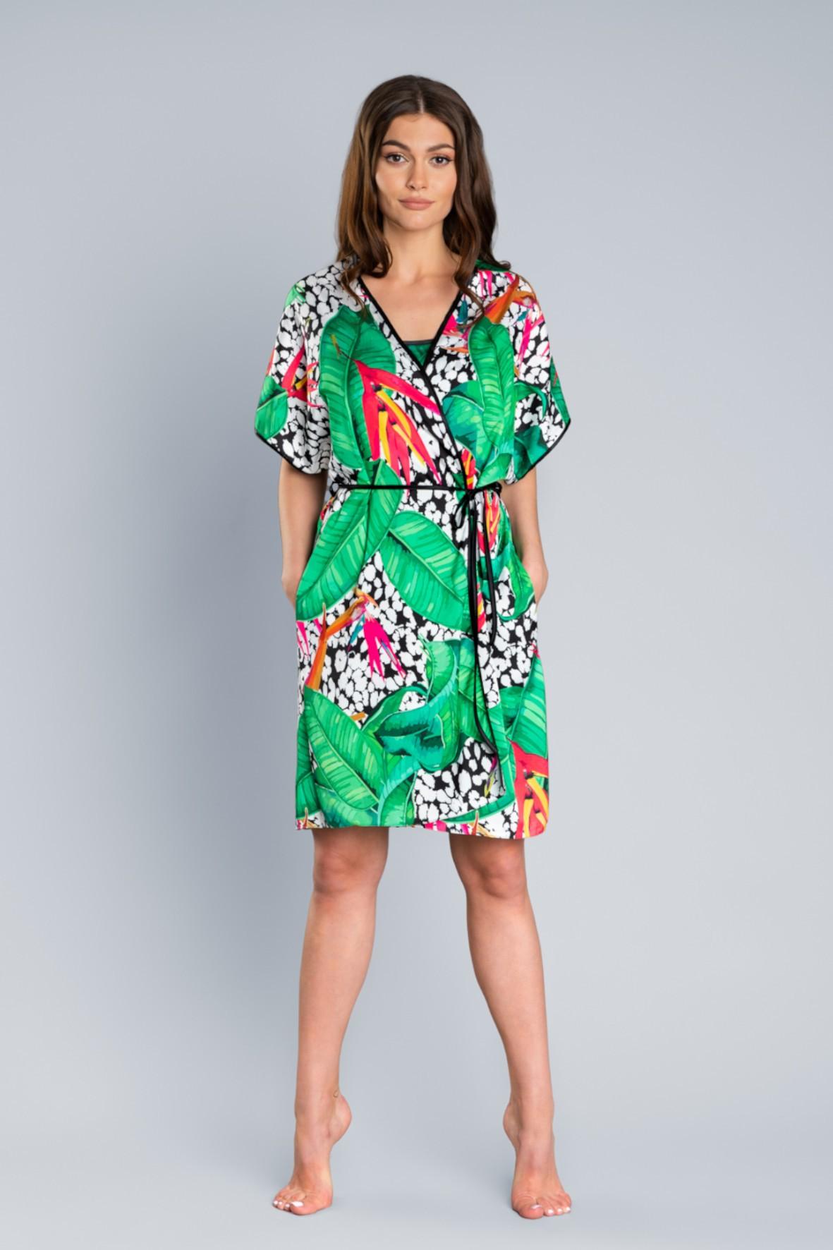Wielkokolorowy szlafrok damski na krótki rękaw Italian Fashion
