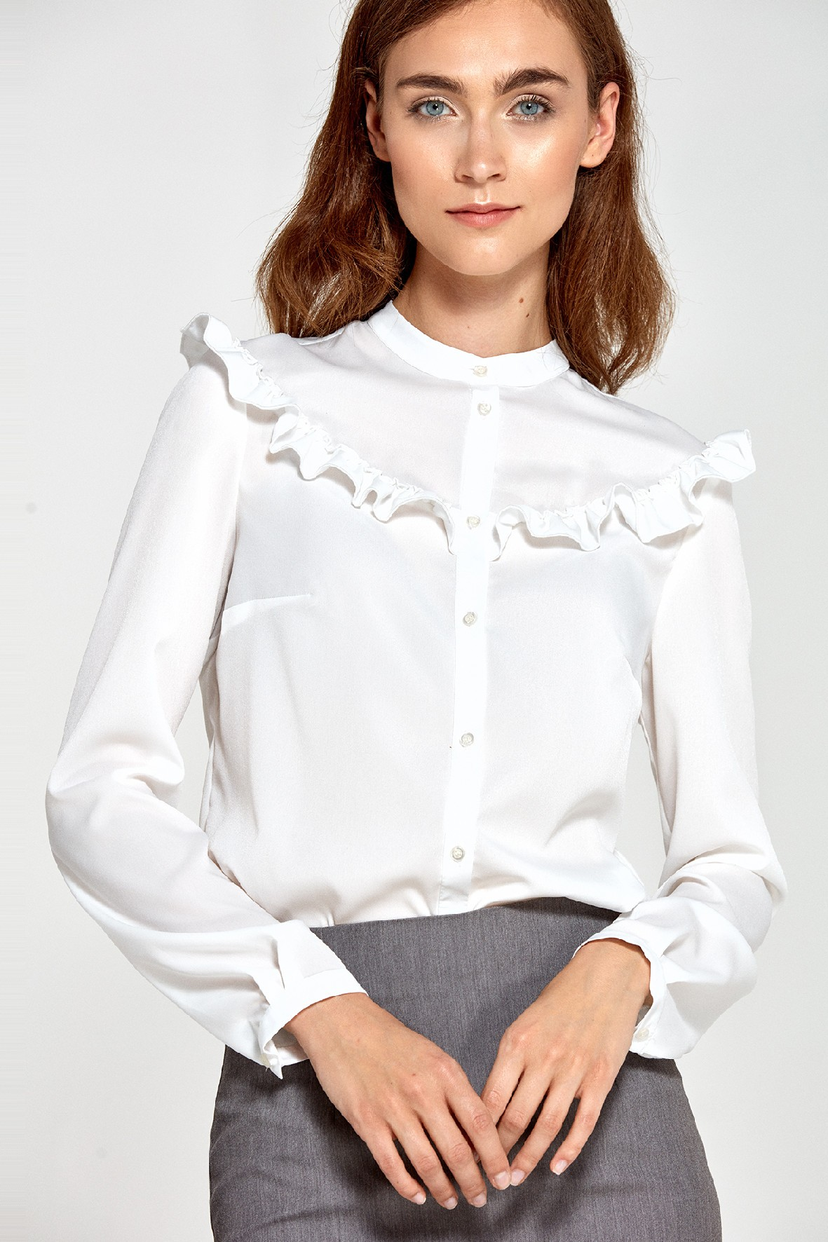 Bluzka damska ecru z falbankami
