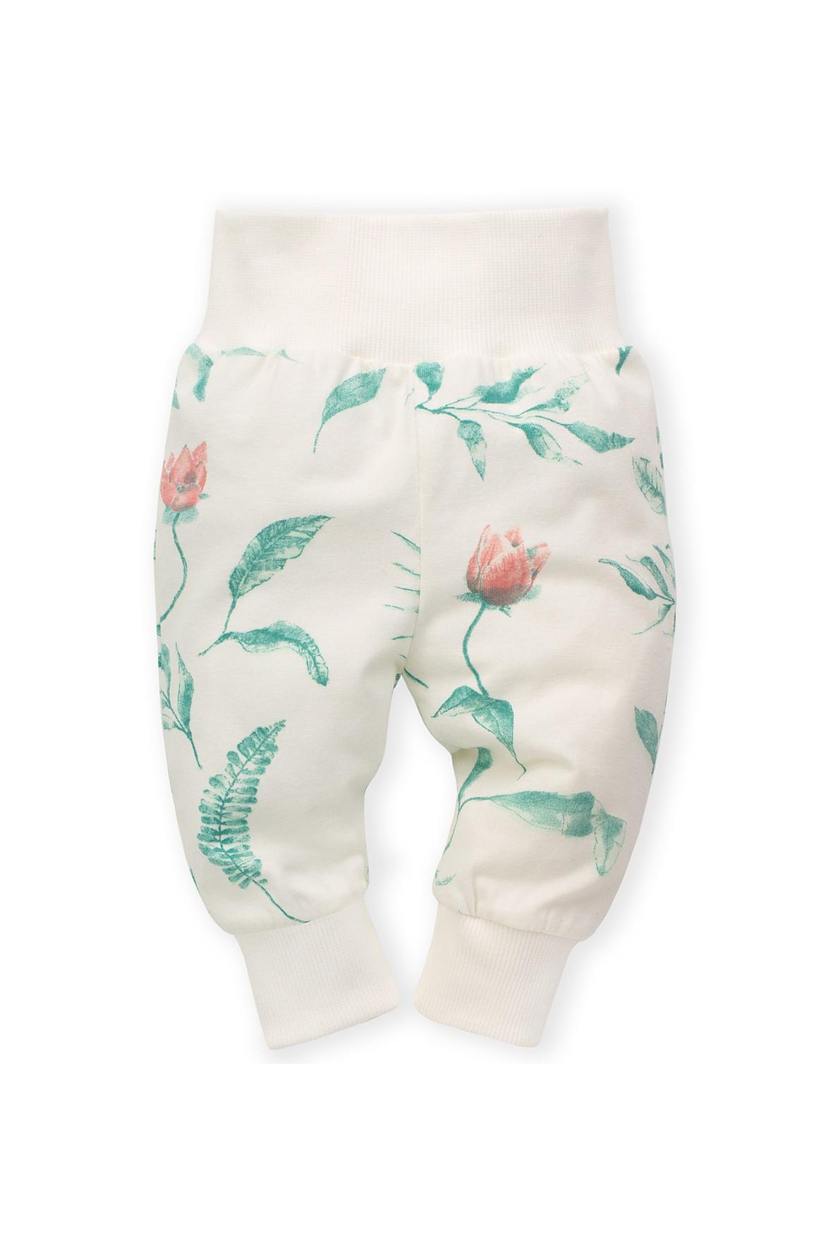 Spodnie dresowe dziewczęce ecru w kwiaty