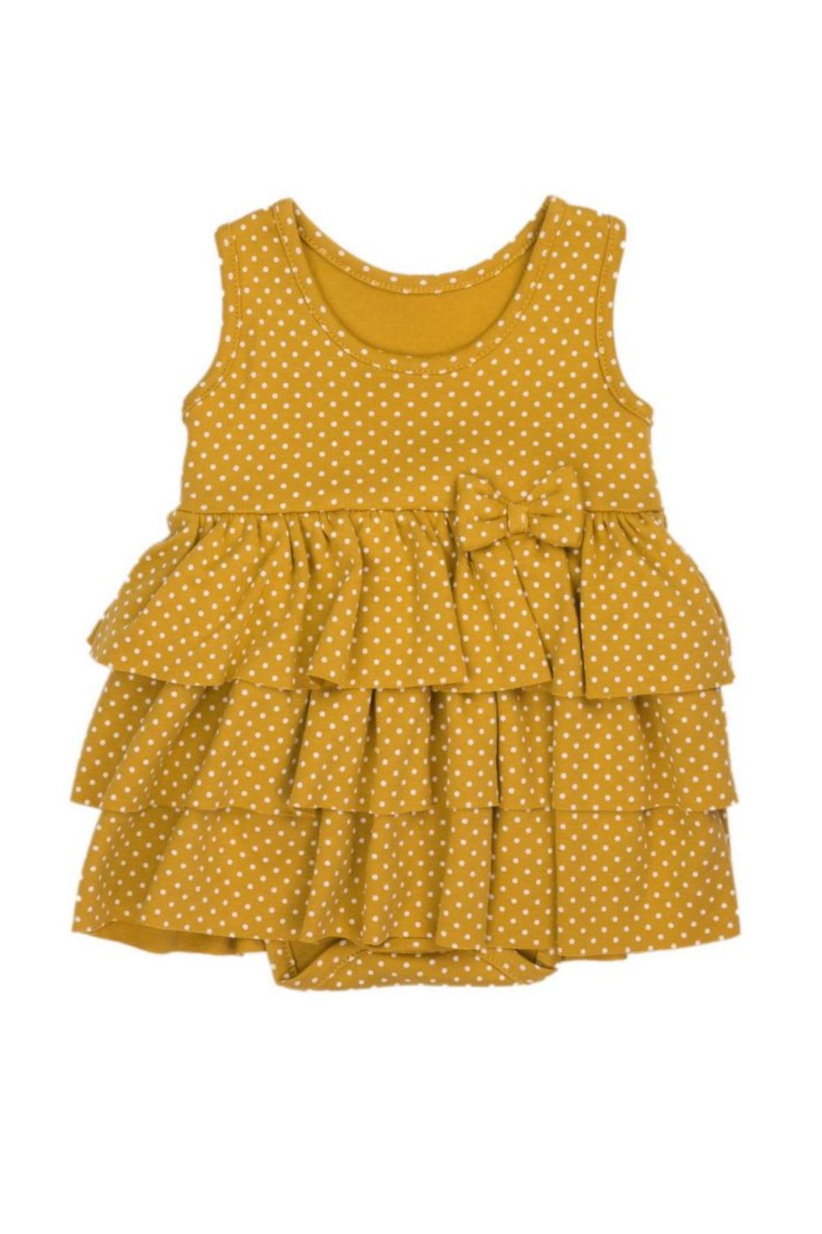 Sukienko-body na ramiączkach w musztardowym kolorze