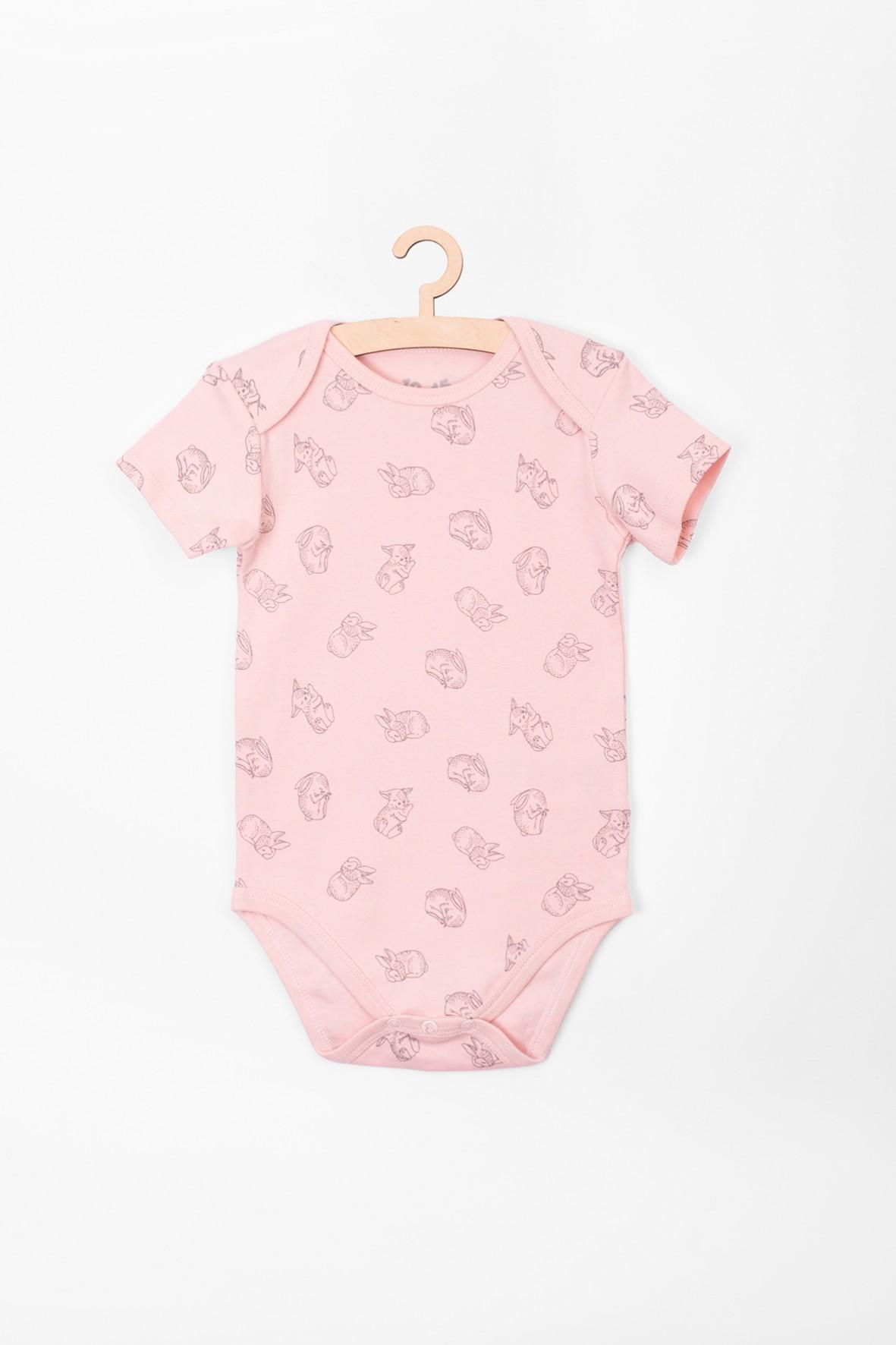 Body niemowlęce różowe w króliki 100% bawełna