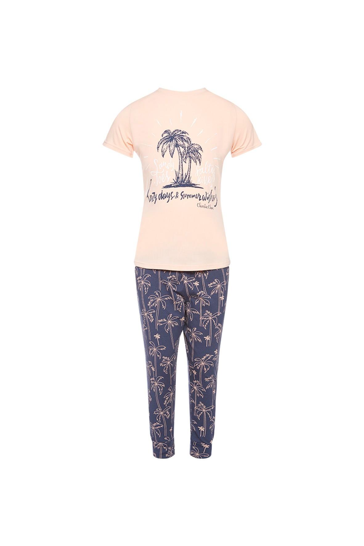 Pidżama dziewczęca w  palmy