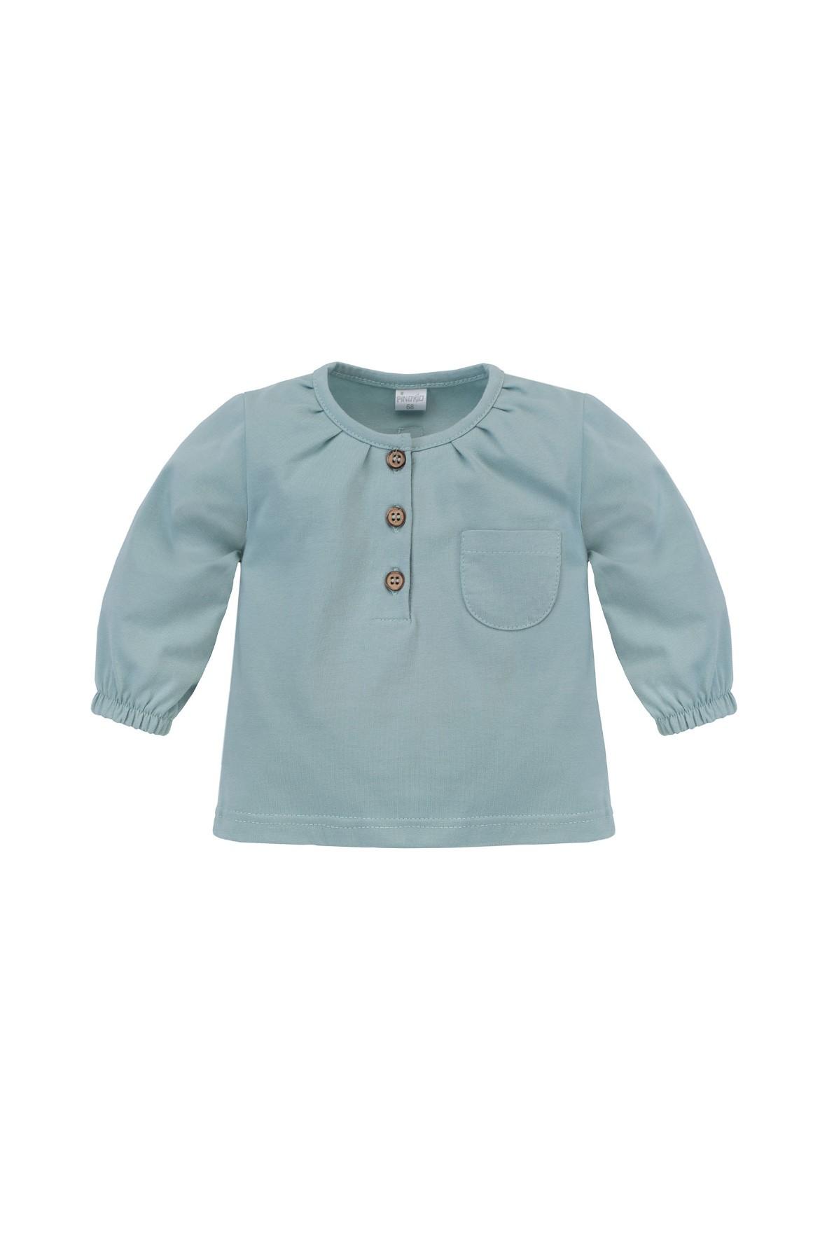 Dziewczęca bluzka z długim rękawem, w modnym odcieniu mięty