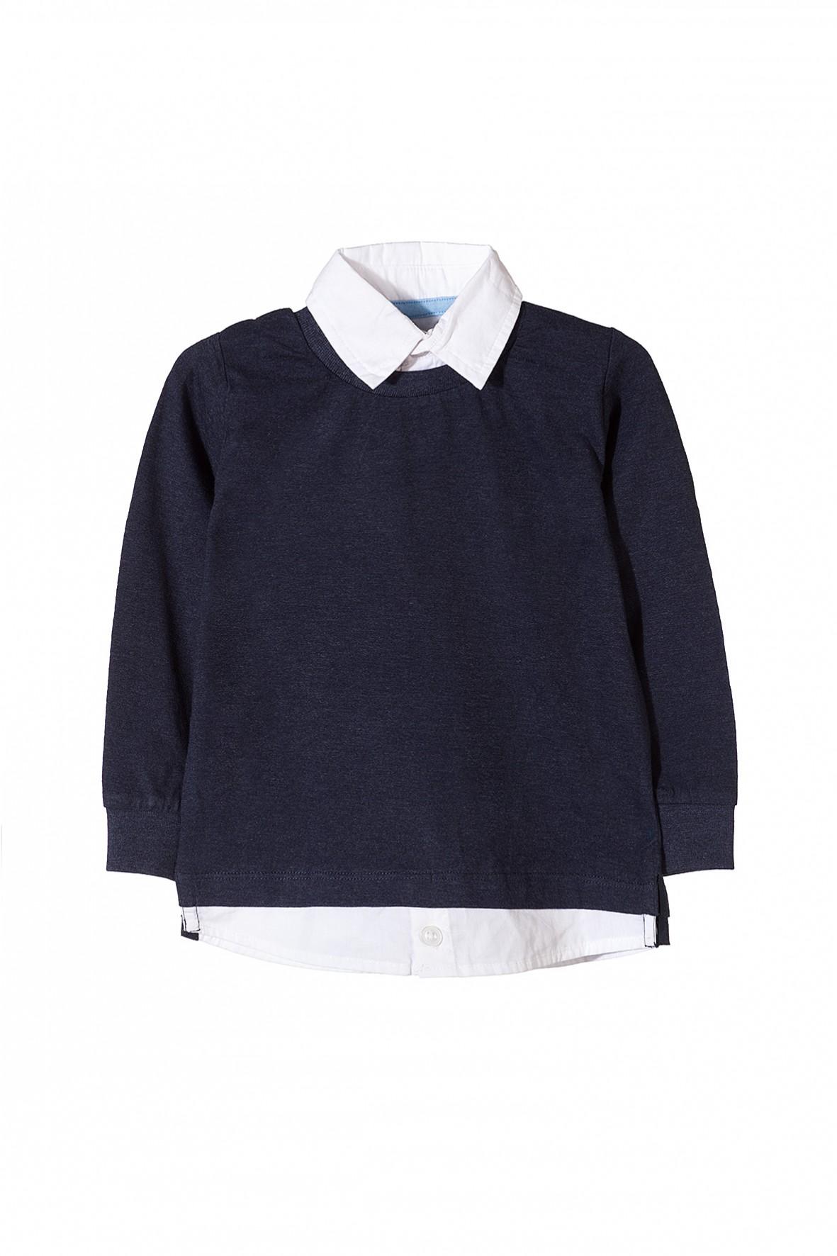 Bluzka chłopięca z koszulowym kołnierzykiem