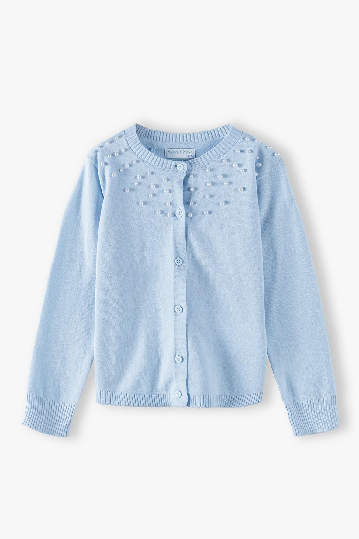 Sweter dziewczęcy niebieski z ozdobnymi perełkami