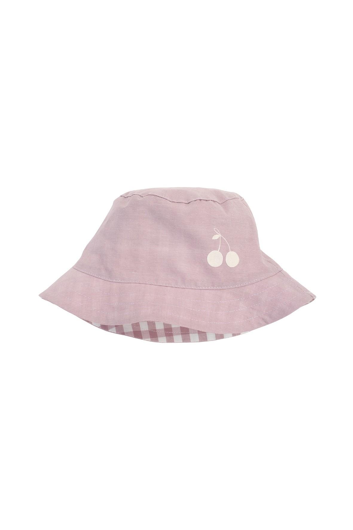 Dwustronny kapelusz z tkaniny bawełnianej w kolorze różowym