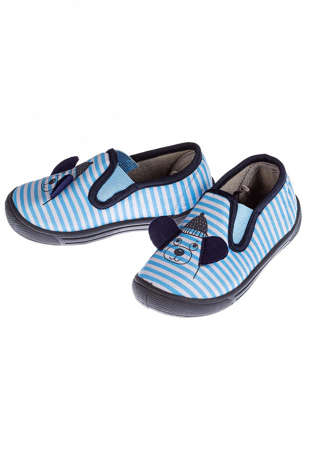 Kapcie do przedszkola chłopięce niebieskie z uszami