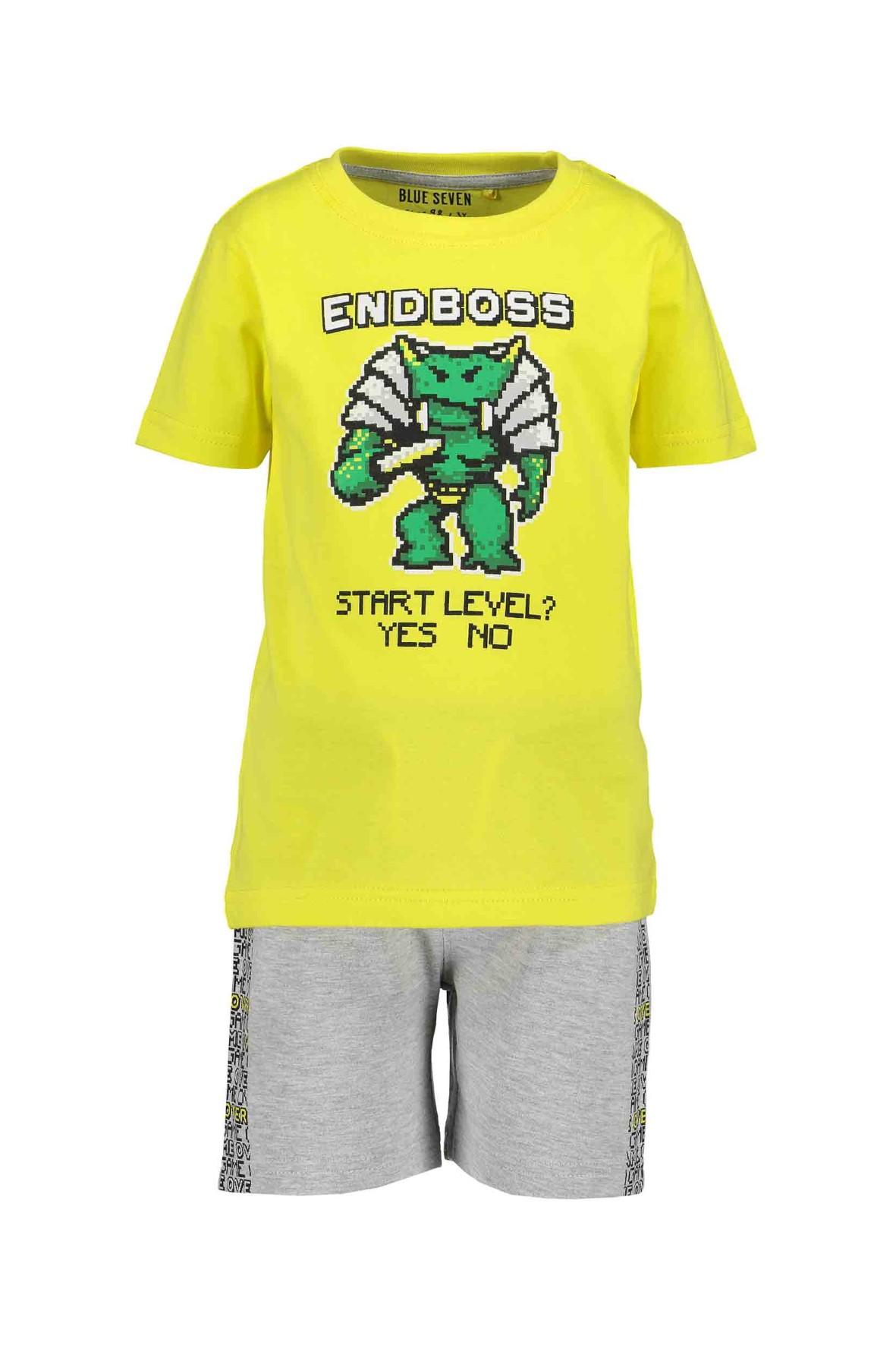 Komplet chłopięcy - żółty t-shirt i szare spodenki